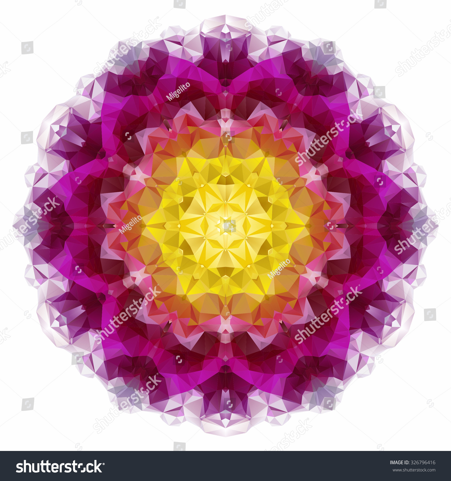 Vector Triangle Pattern Background Kaleidoscope Flower Stock Vector ...