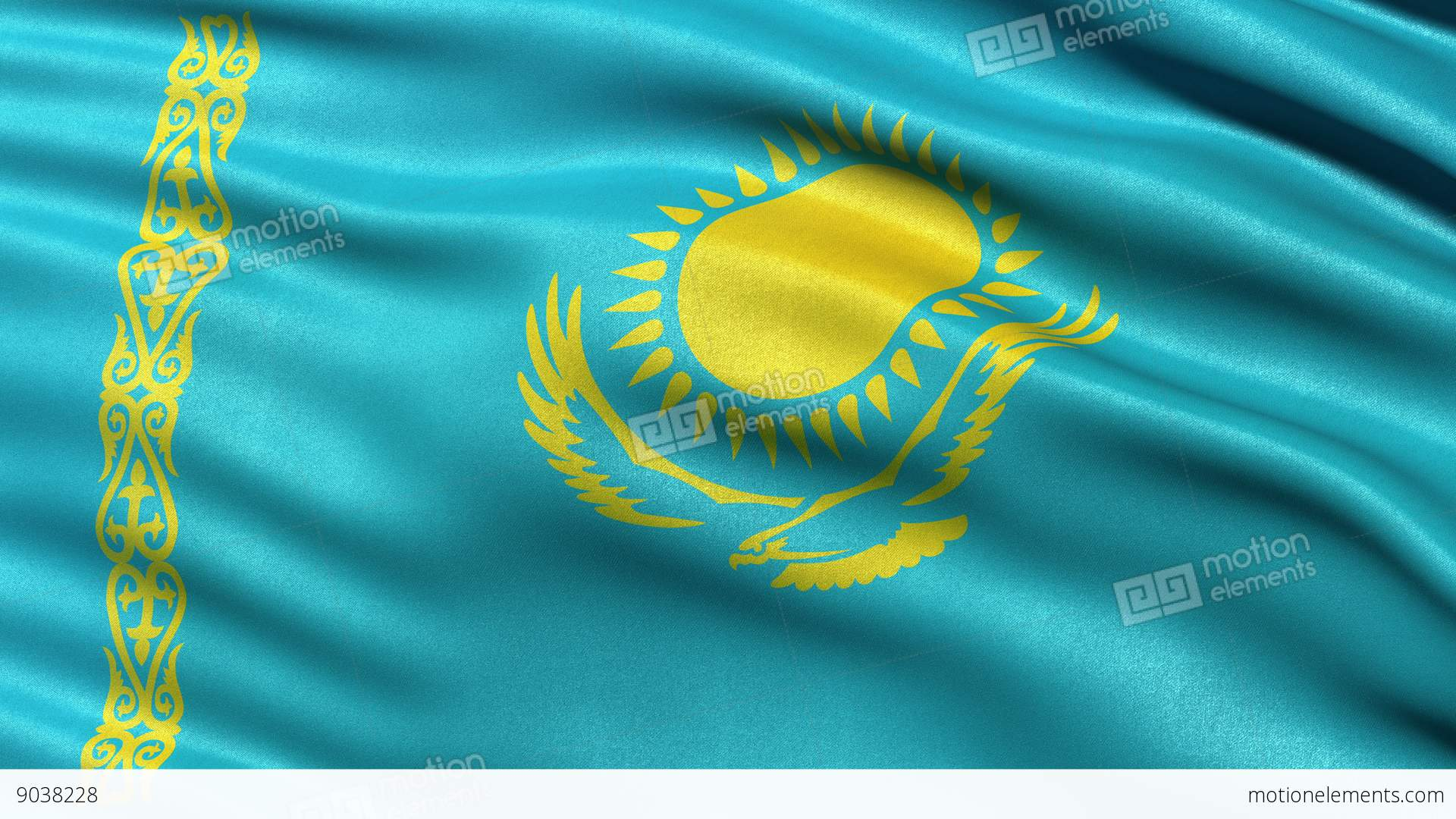 4K Kazakhstan Flag Seamless Loop Ultra-HD Stock Animation | 9038228