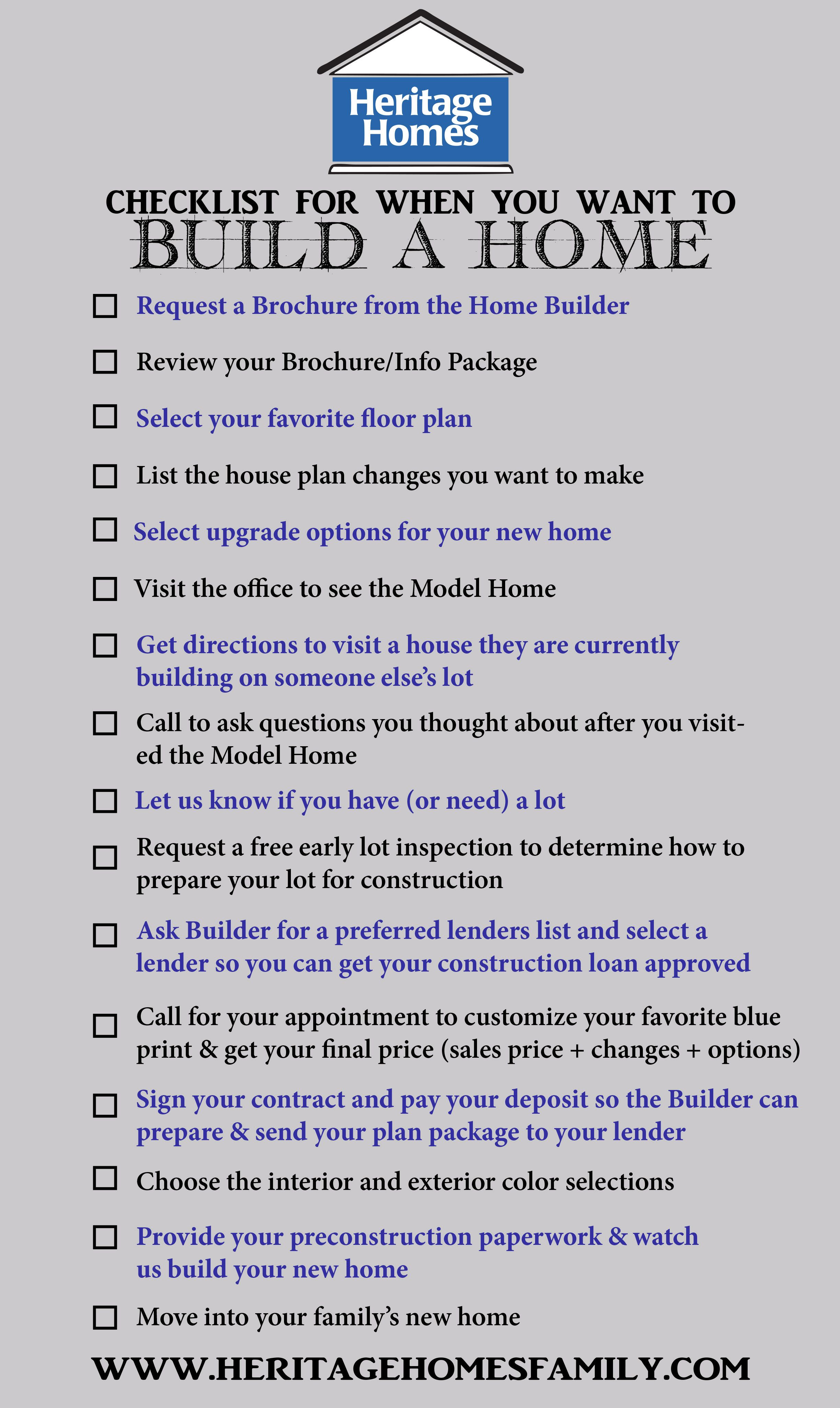Checklist of what to do when you want to build a home. The steps you ...