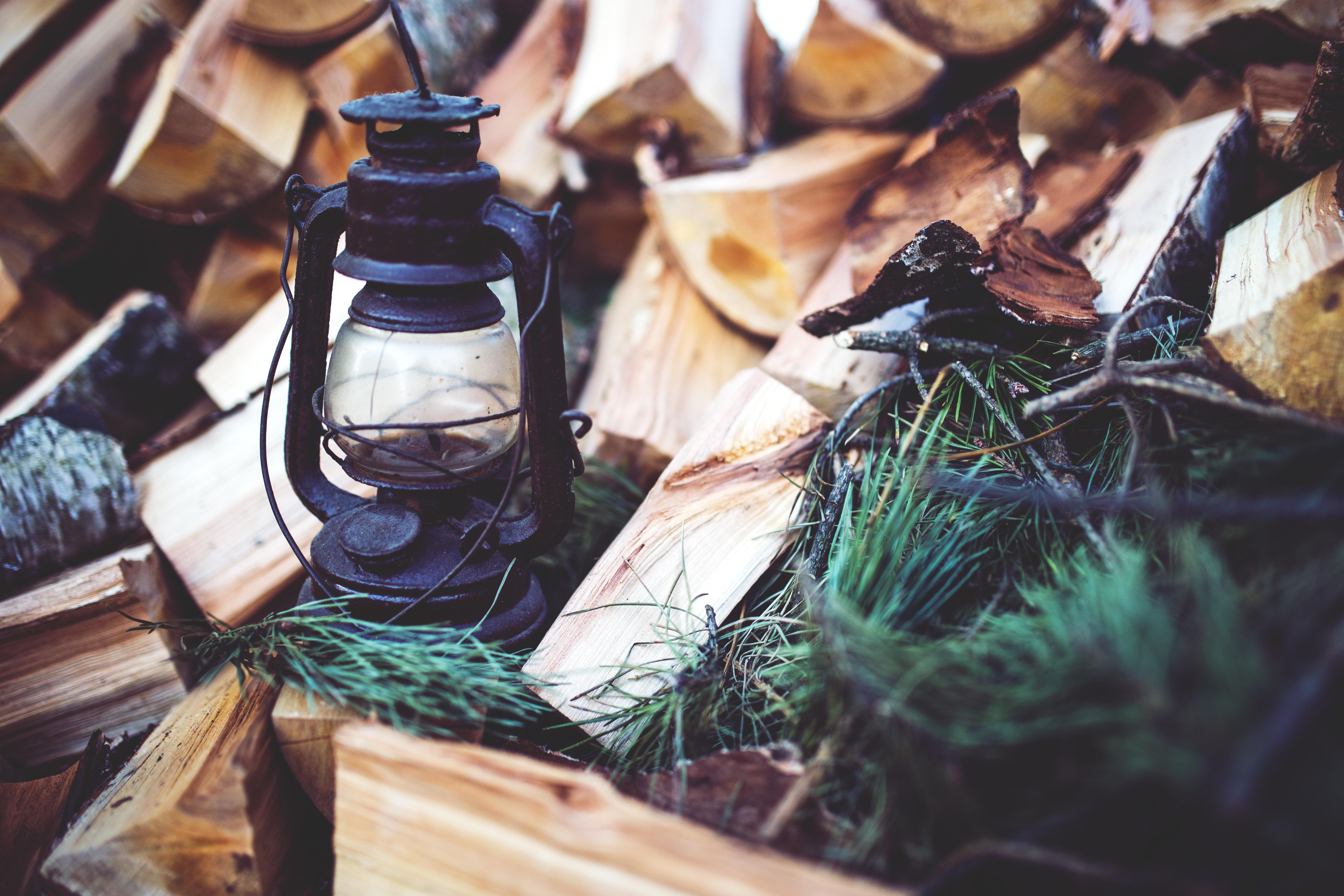 Kerosene lamp on the wood photo