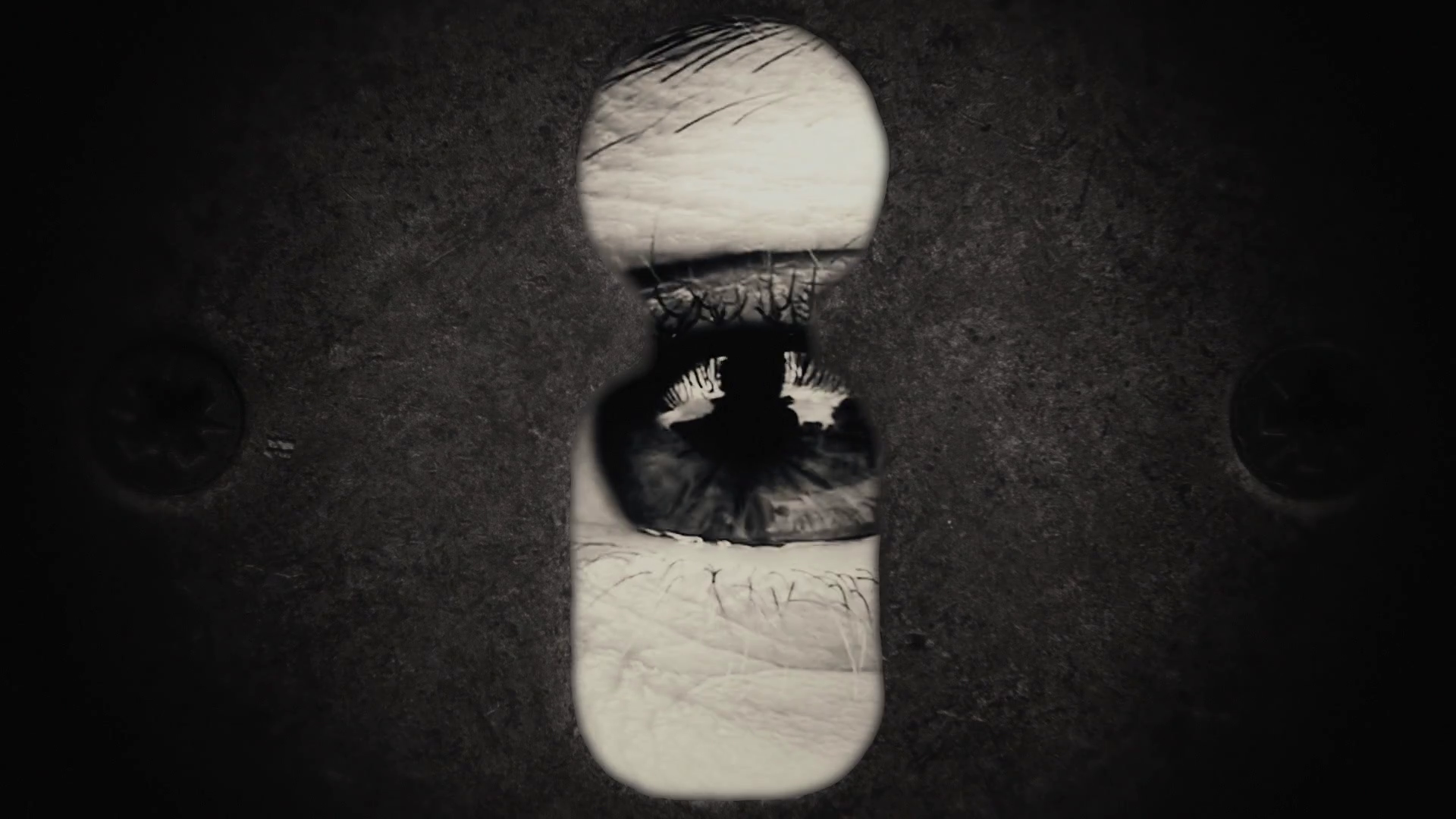 Keyhole Eye Macro Big Vintage. A big scary eye spying from a keyhole ...