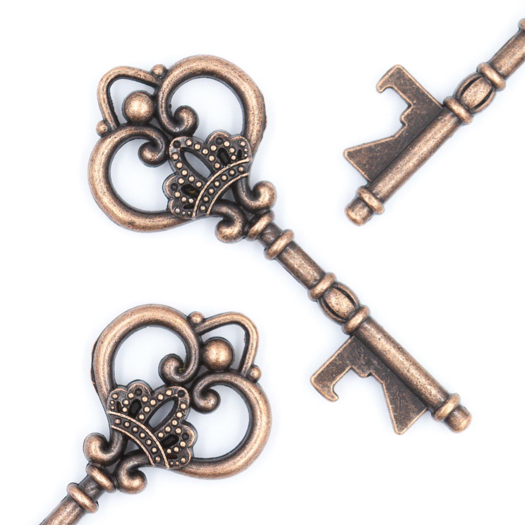 50 Key Bottle Openers - Antique Copper Vintage Skeleton Keys - Queen ...