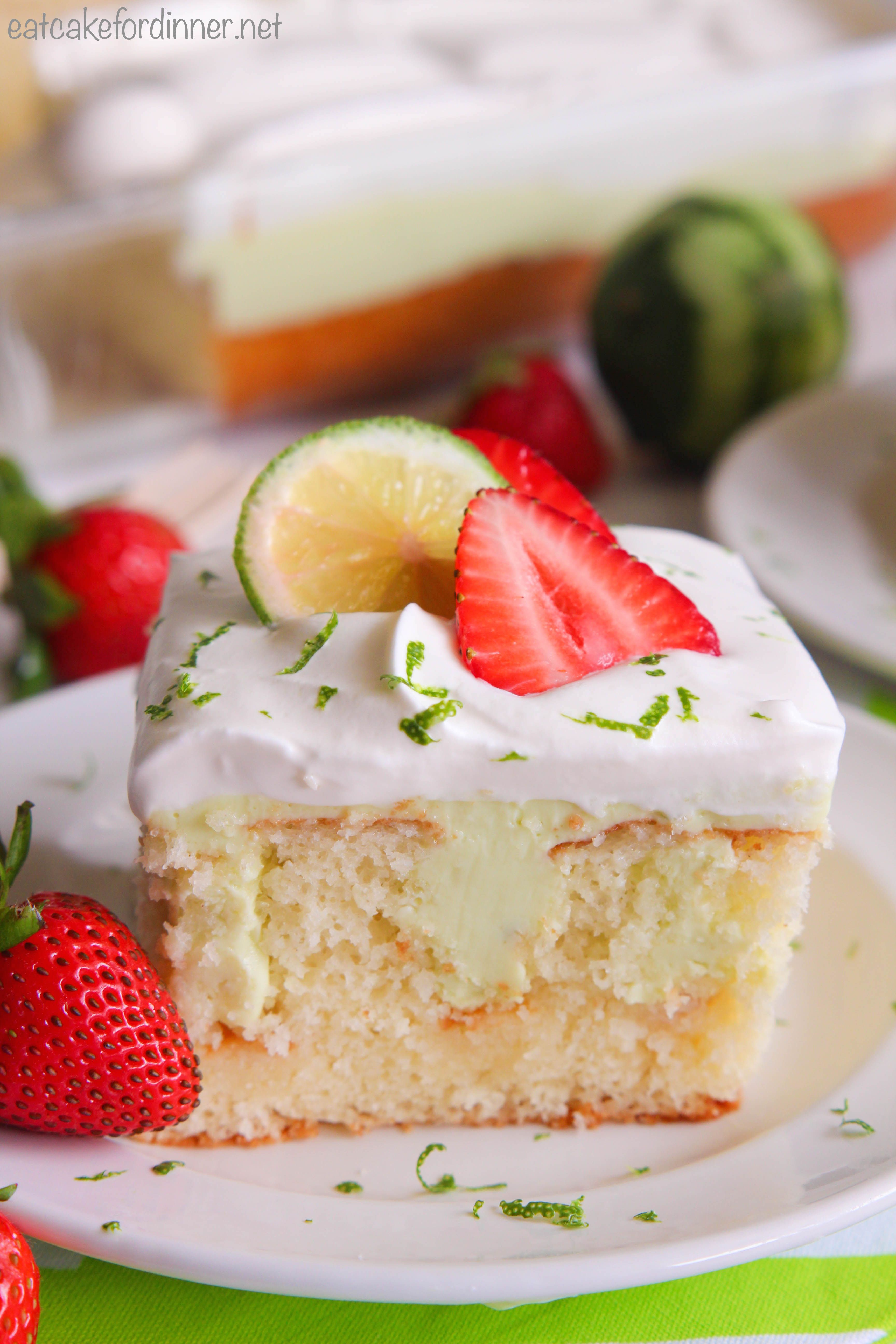 Key Lime Poke Cake is a delicious white cake that is seeping with a ...