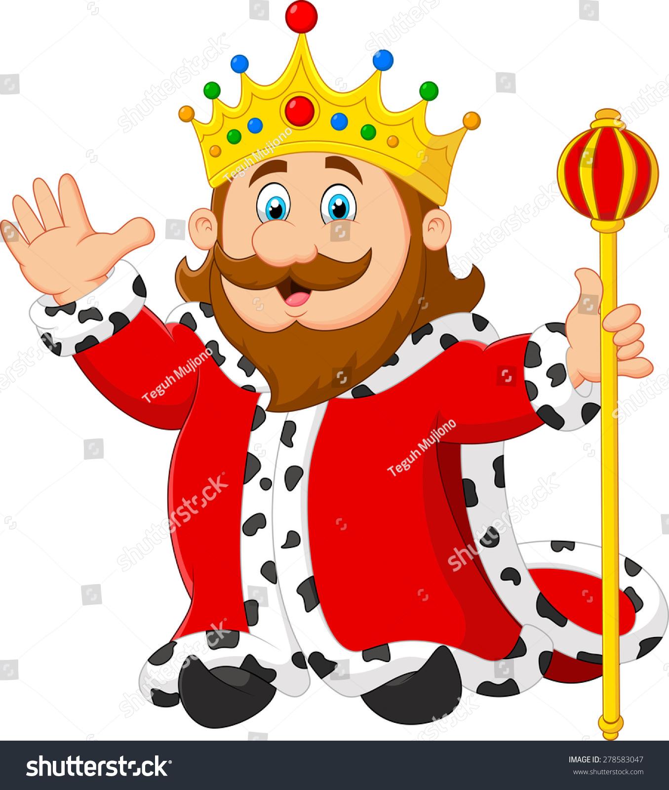 Cartoon King Holding Golden Scepter Stock Vector 278583047 ...