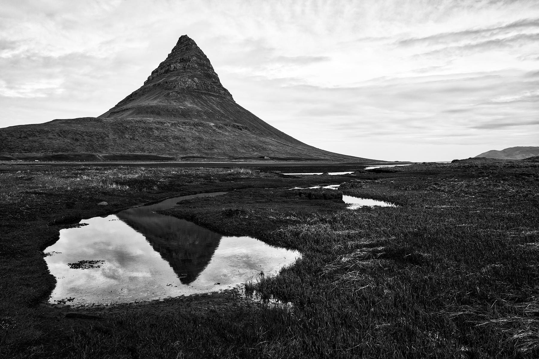Kirkjufell reflection - black & white photo