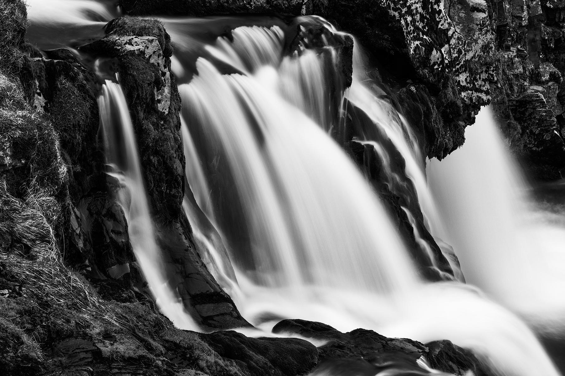 Kirkjufellsfoss cascades - black & white photo