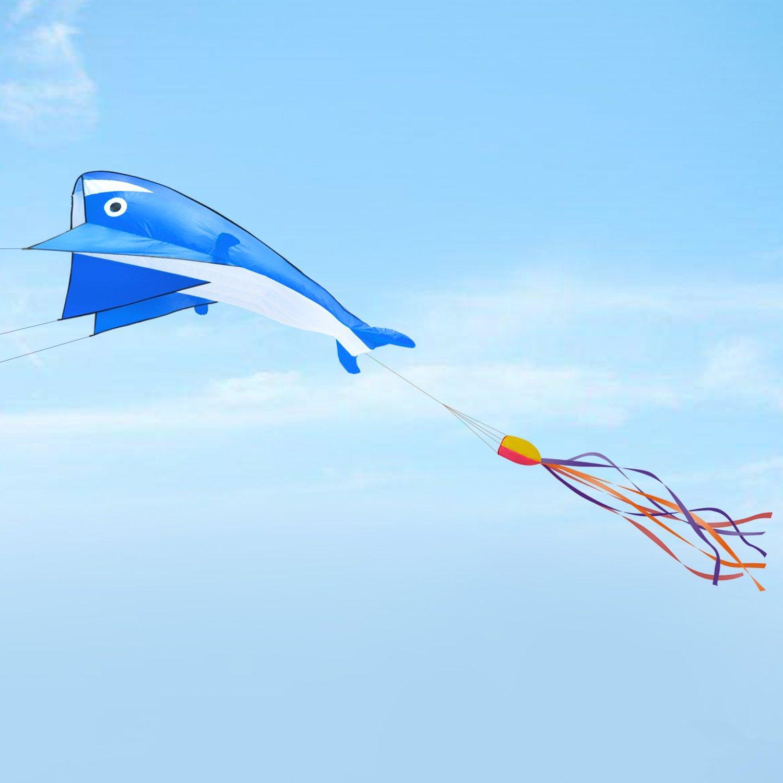 Amazon.com: IMAGE 3D Kite Huge Frameless Soft Parafoil Giant Blue ...