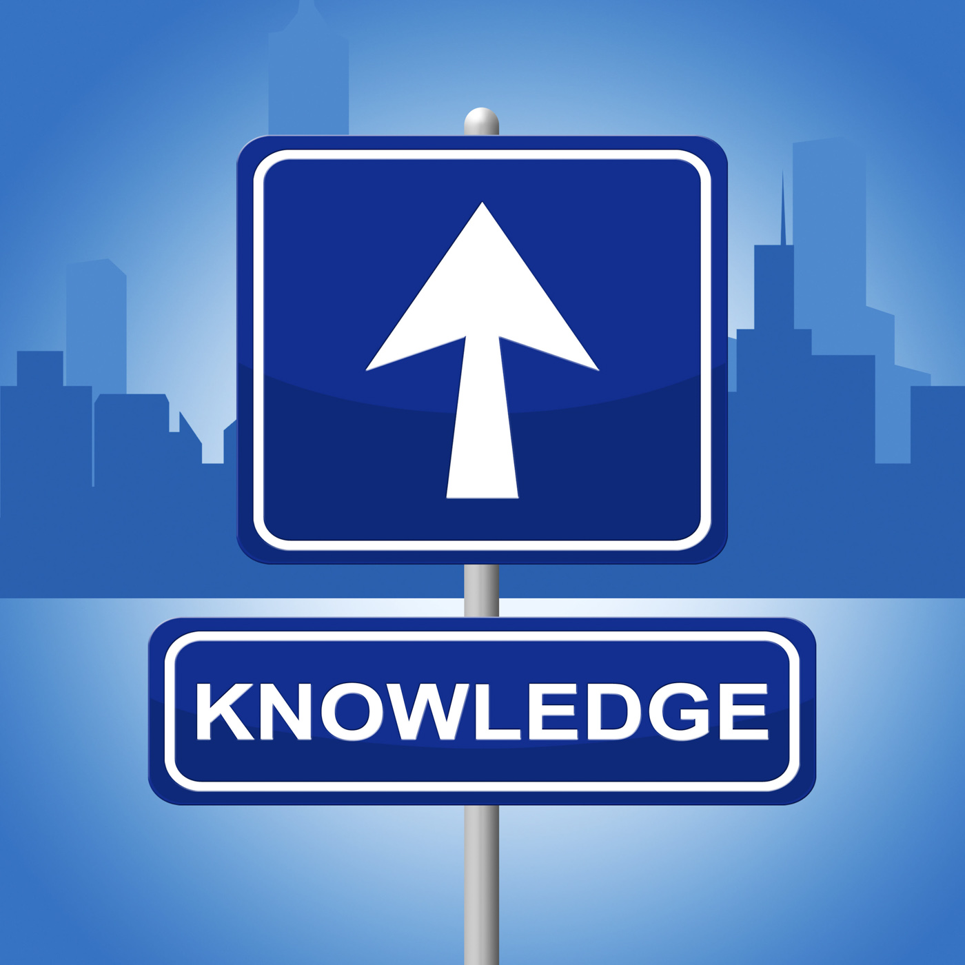 Knowledge sign shows arrows signboard and faq photo