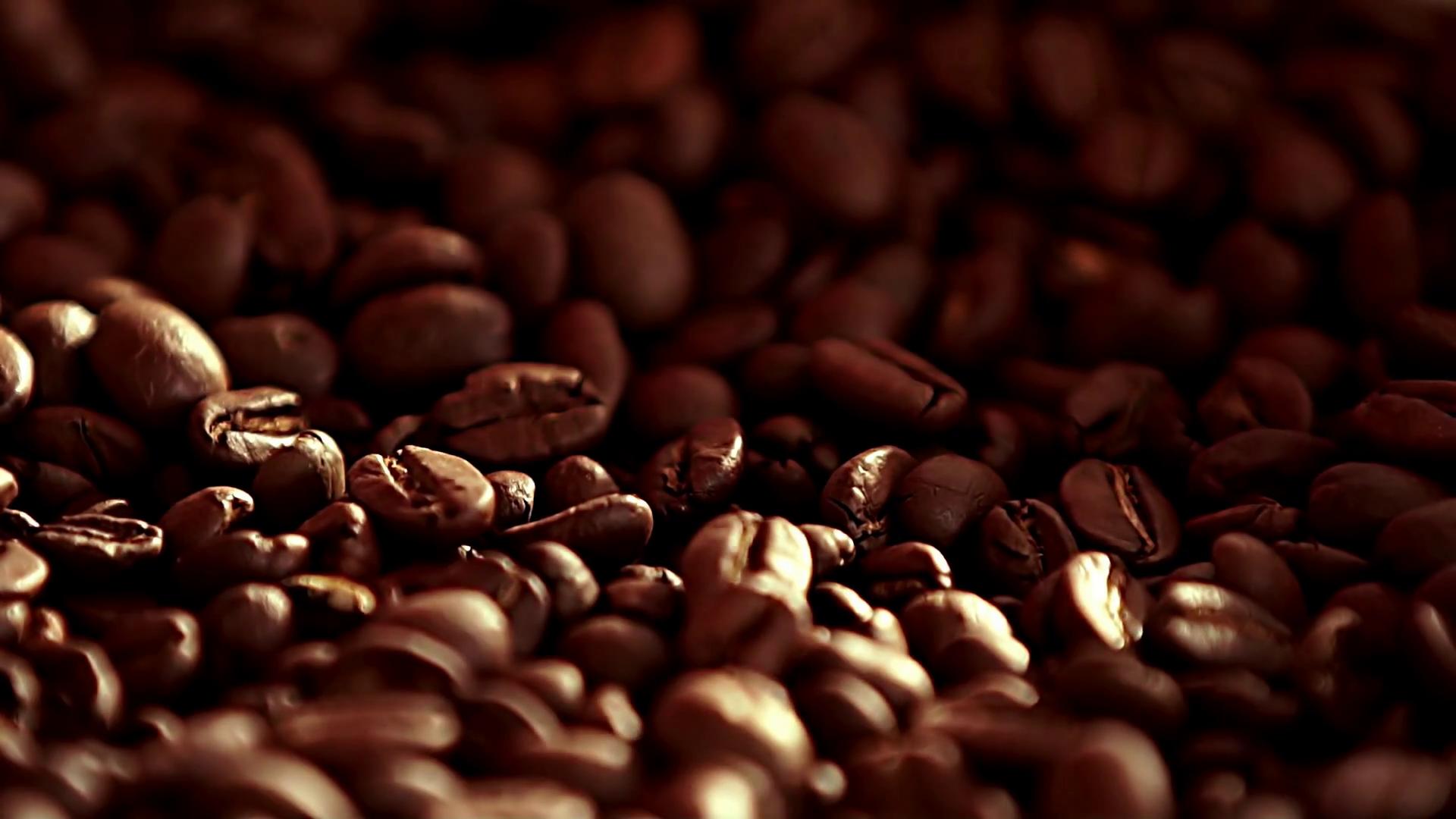 Coffee close up. Coffee. Sunshine on coffee seeds. The ready fried ...