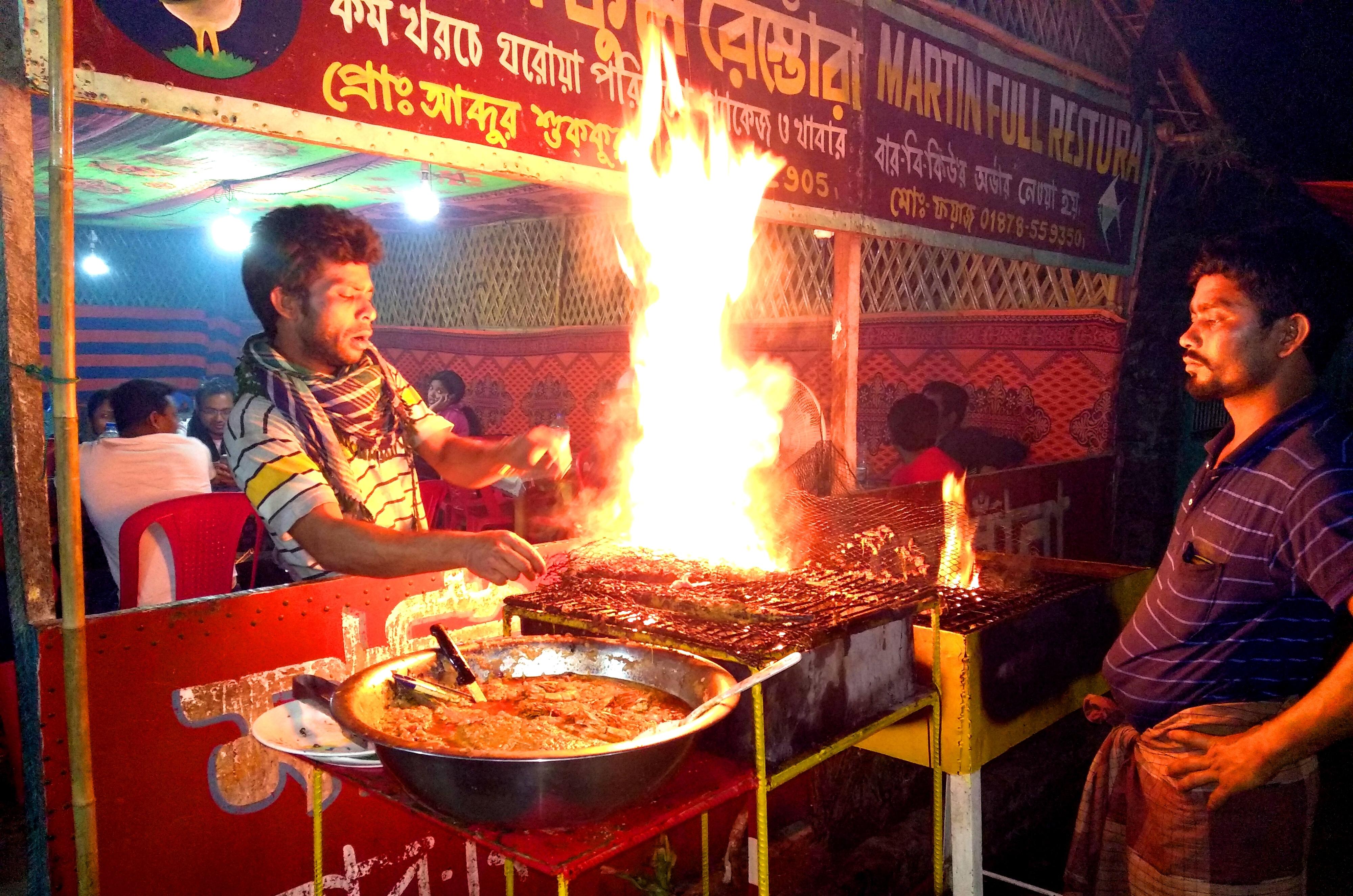 Koral Fish BBQ in Sea Beach, Bangladesh, Flame, Teknaf, Sea, HQ Photo