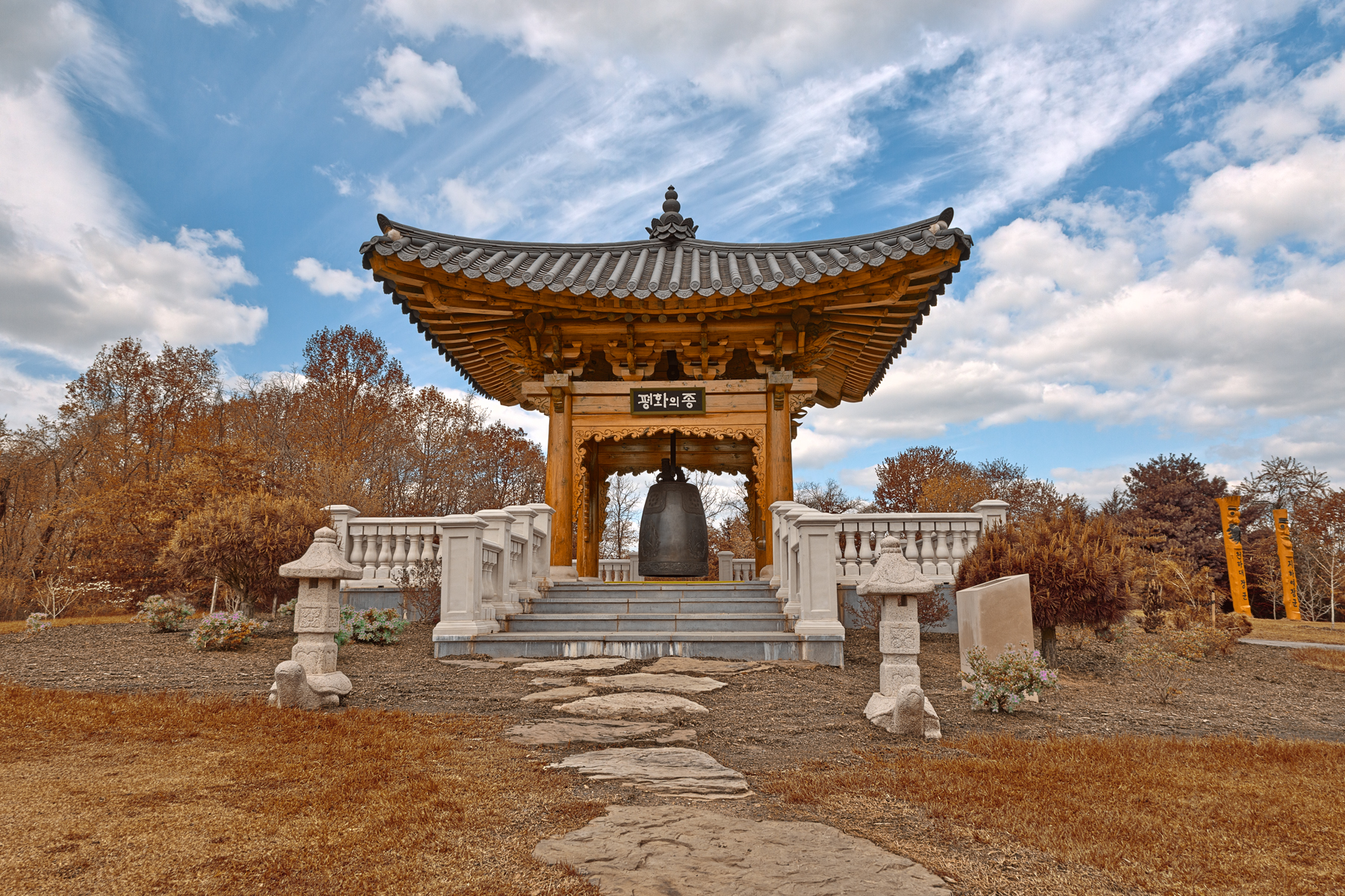 Korean Bell Garden - Sepia HDR, America, Rocks, Spectacular, Sky, HQ Photo