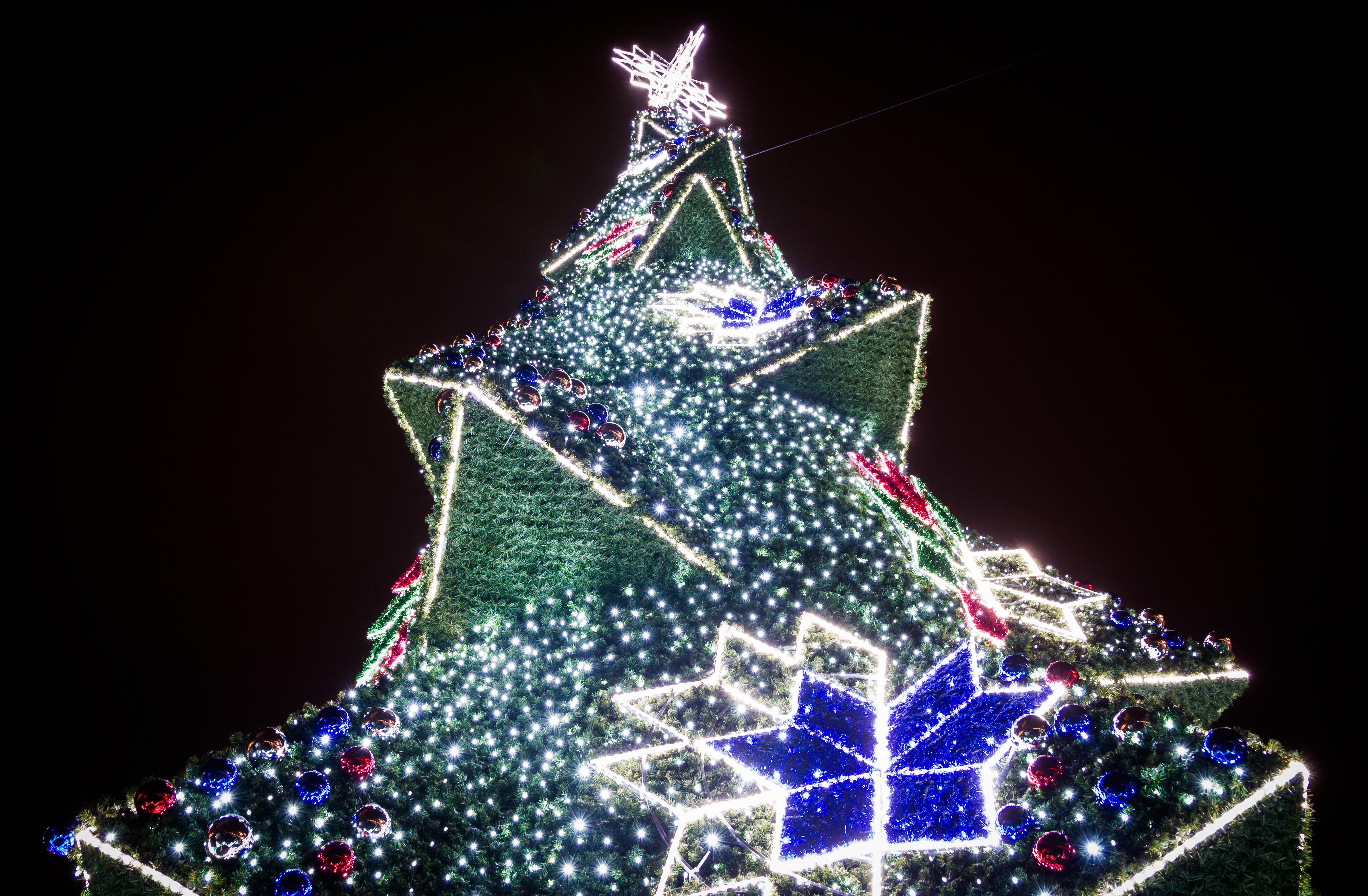 Krakow Main Market Christmas Tree, Poland, Black background, Night, Trees, Travel, HQ Photo