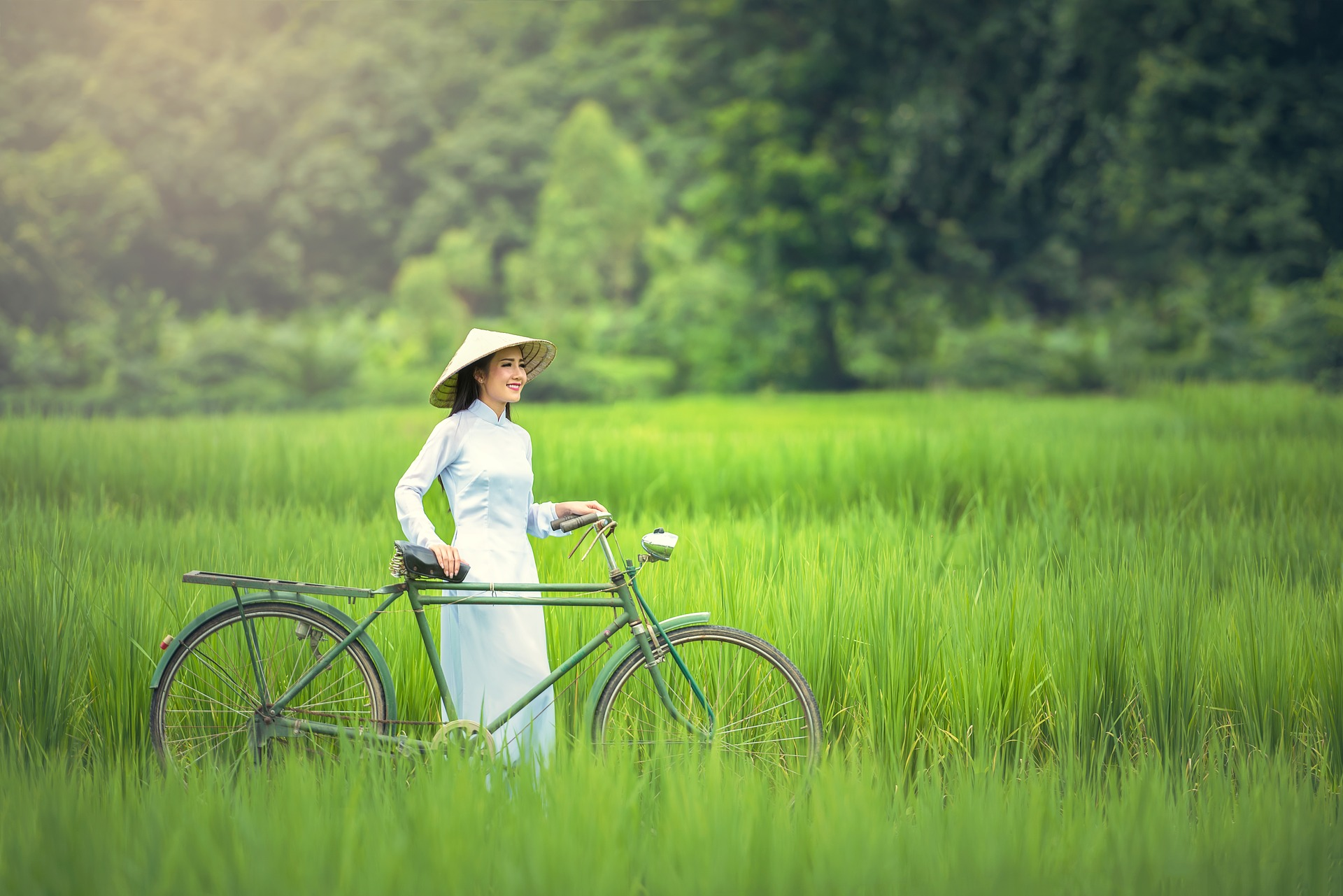 Lady with the bicycle photo