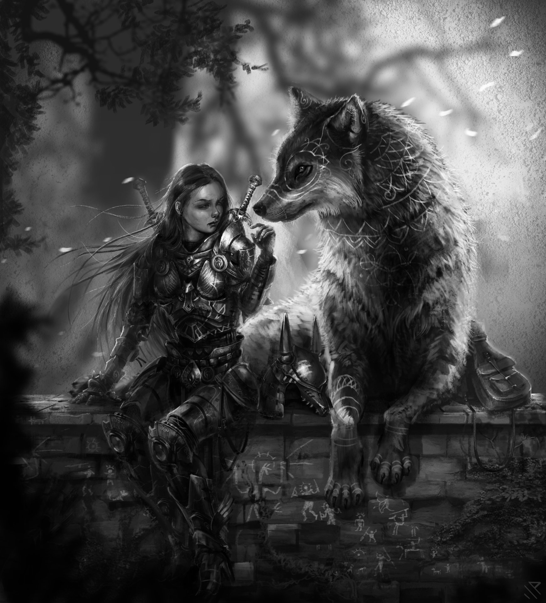 Lady with wolves photo