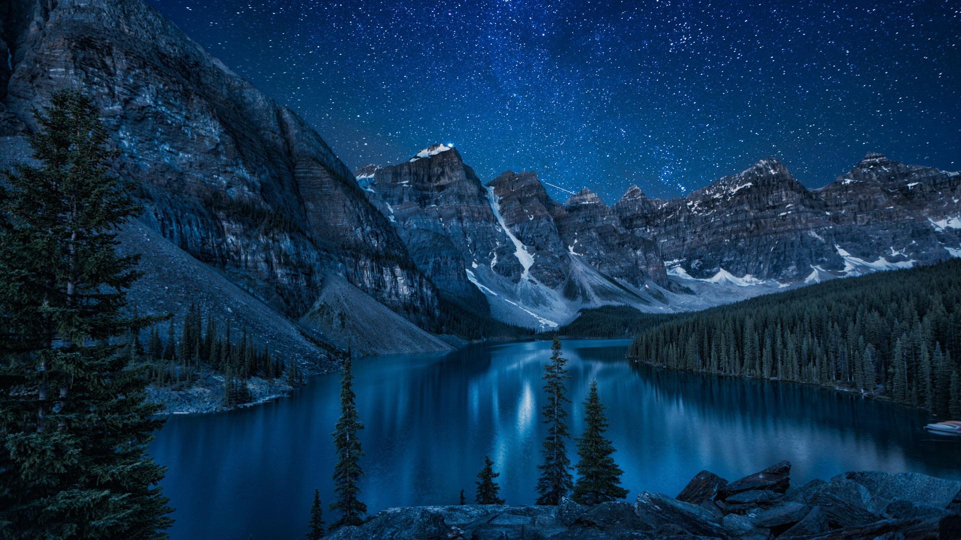 Lake at night photo