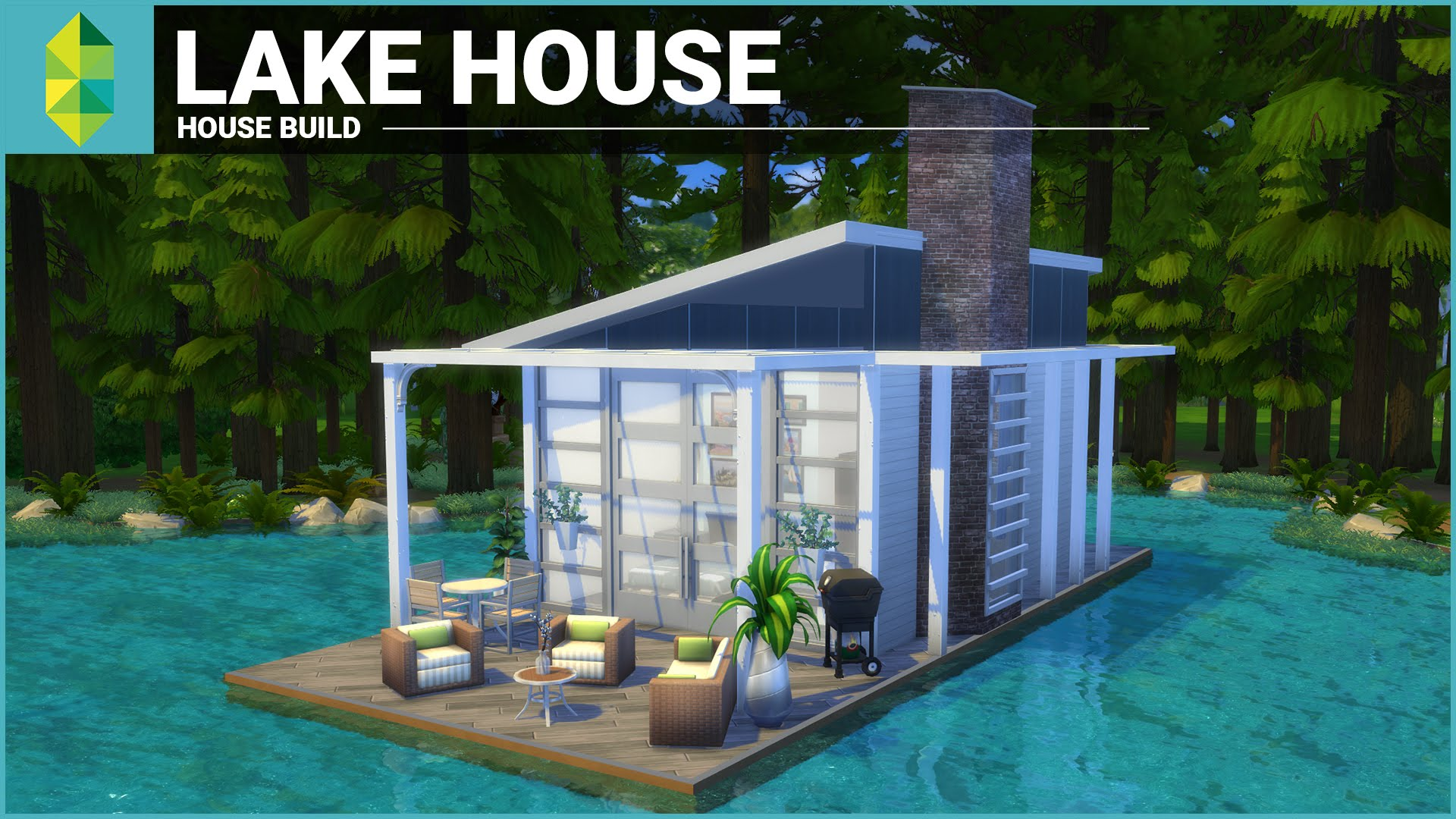 The Sims 4 House Building - Lake House (Tiny 4x6 Grid) - YouTube