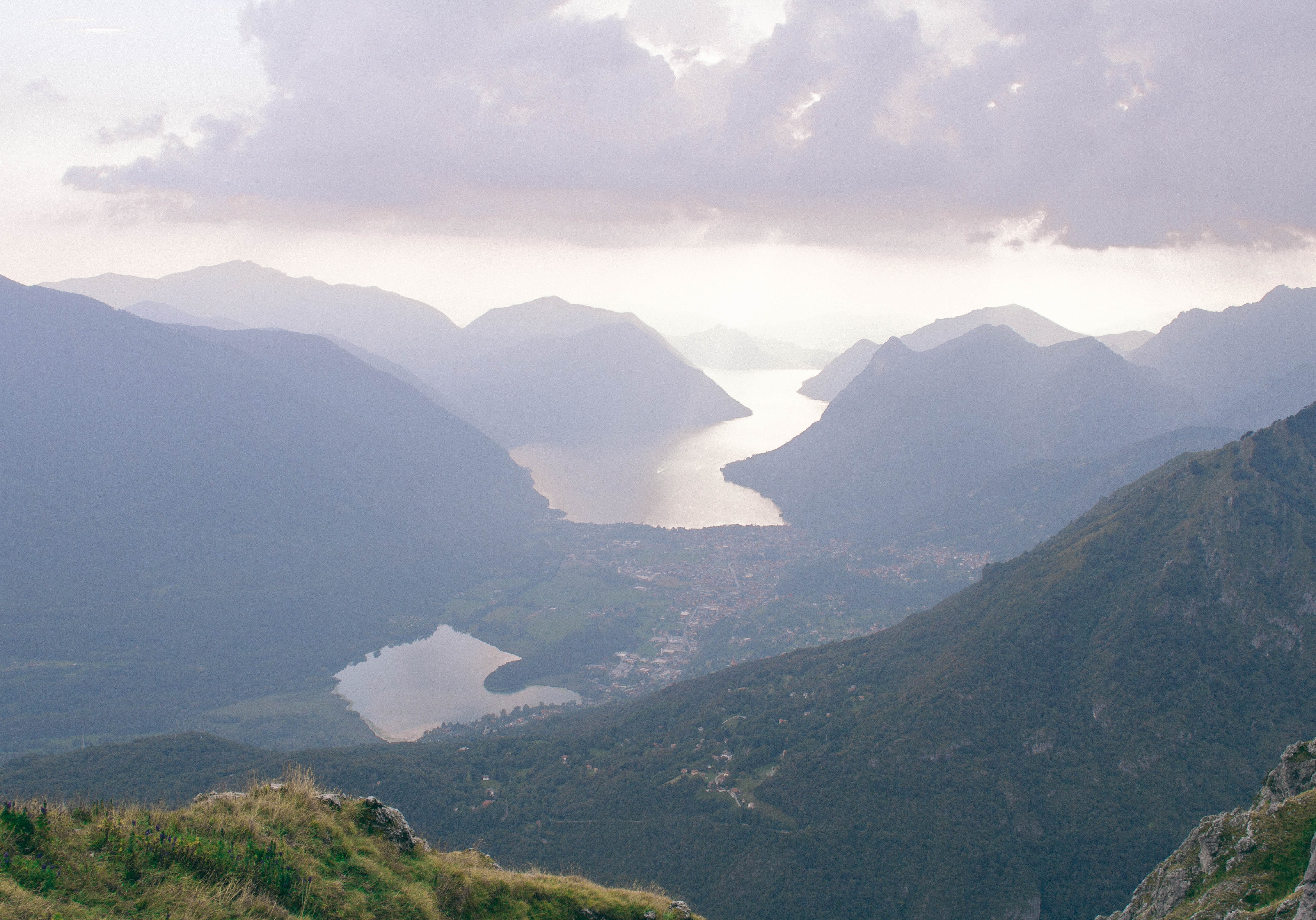 Lake in Valley, Clouds, Mountains, View point, View, HQ Photo