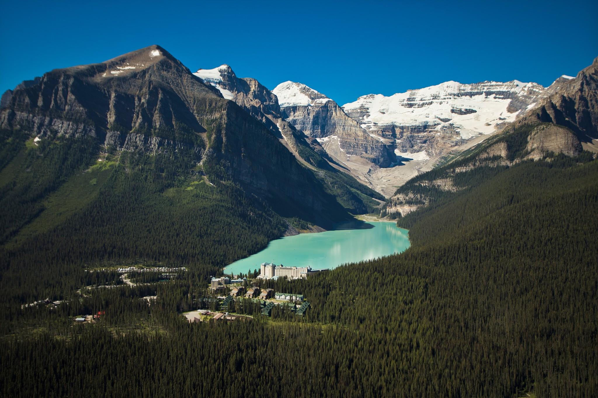 Above Banff National Park Aerial Chateau Lake Louise Summer Paul ...