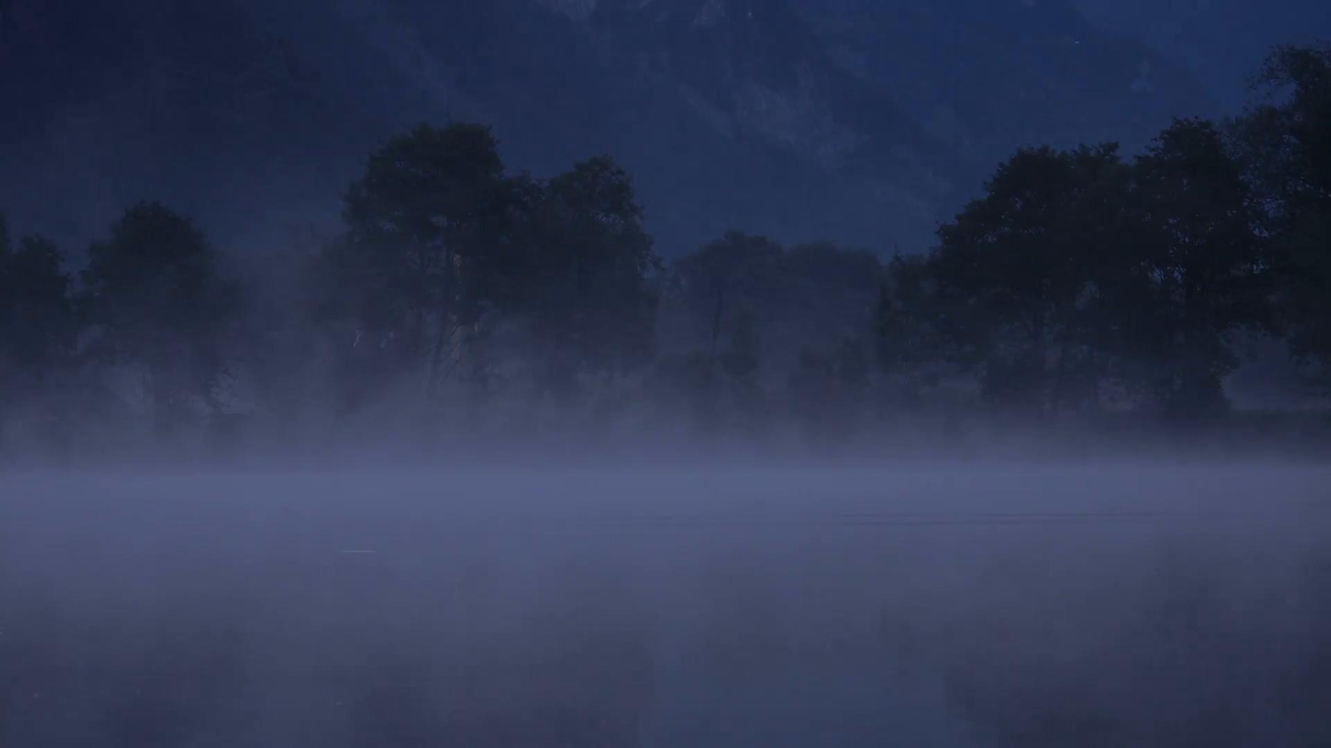 Night lake scene photo