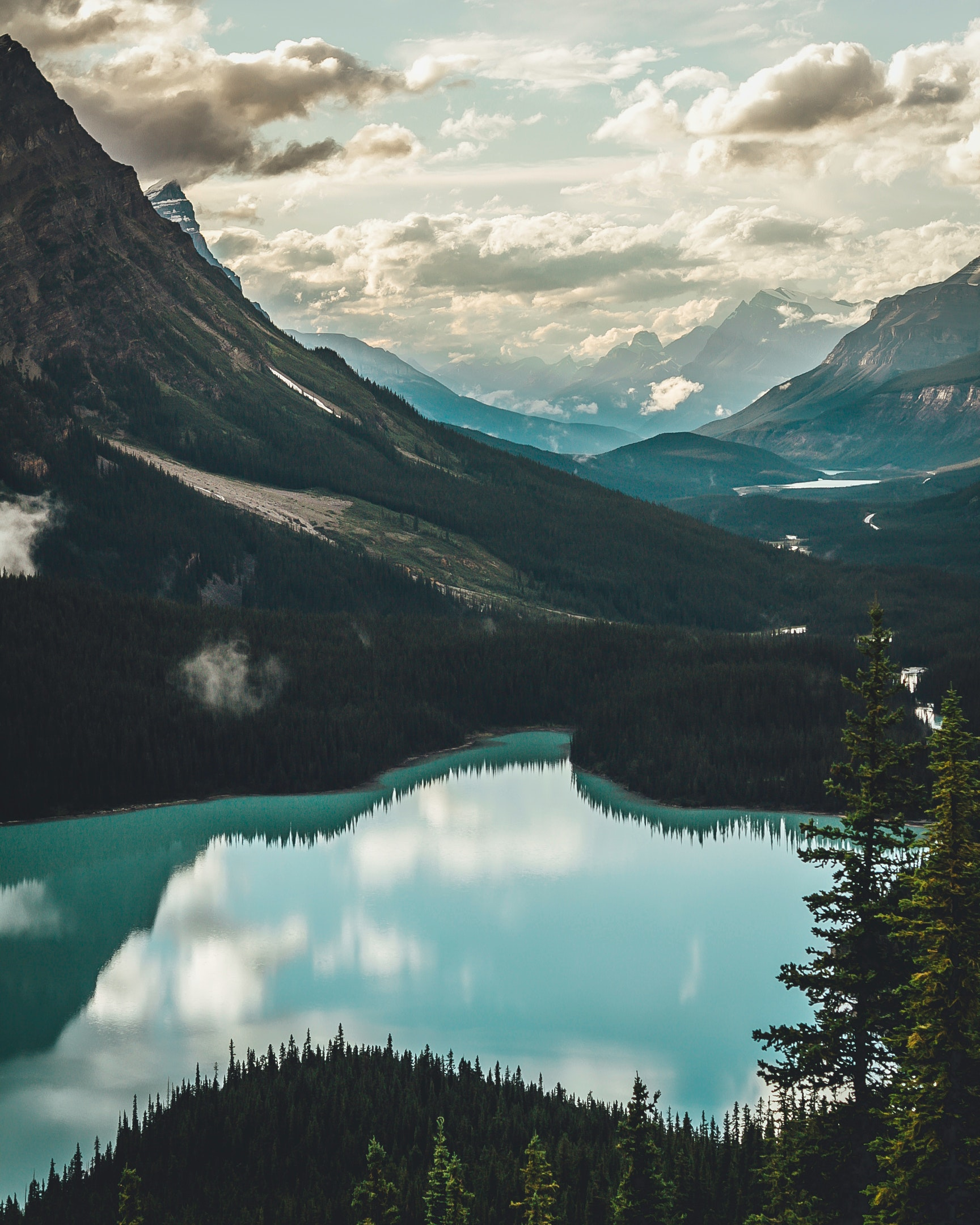 Lake surrounded with mountains photo