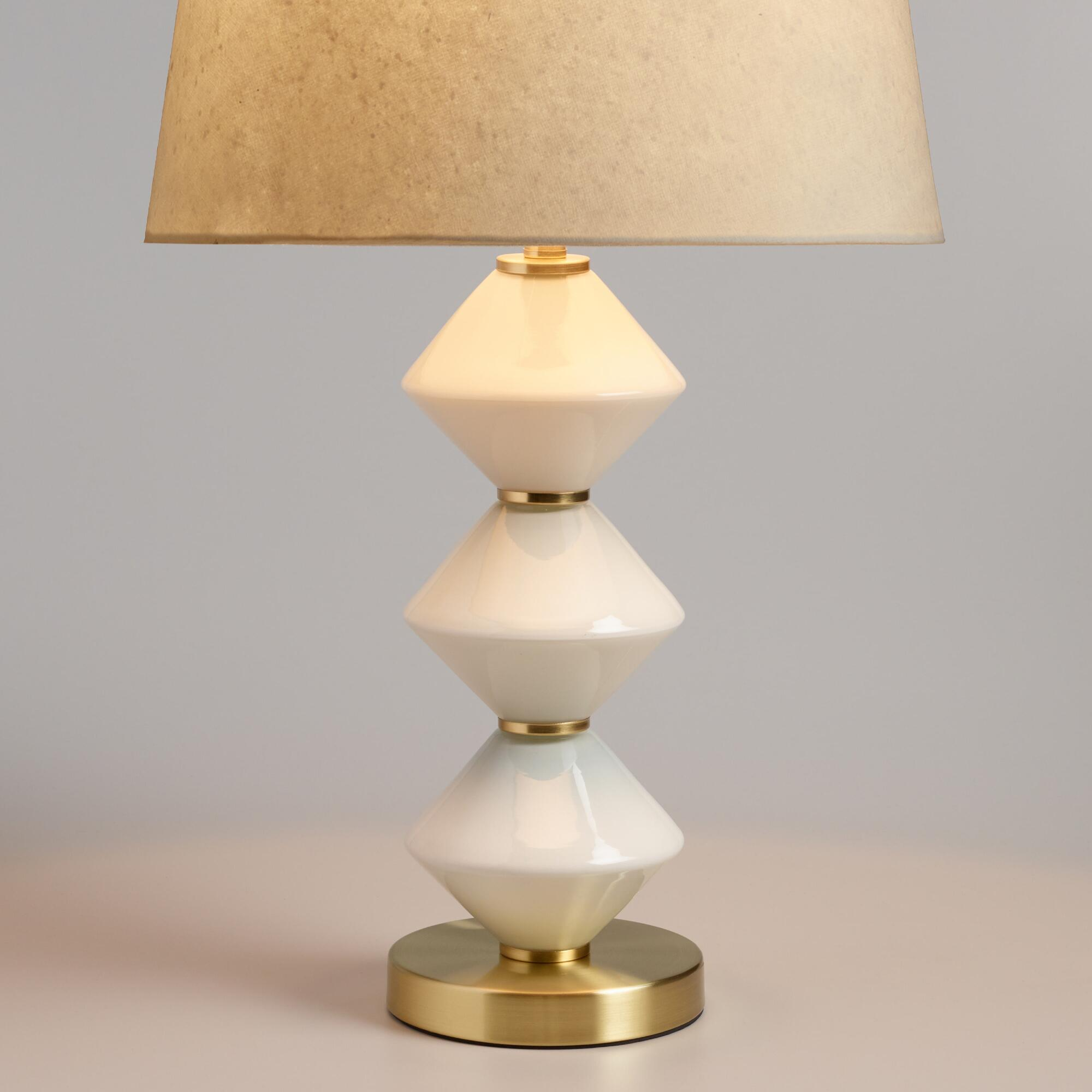 Geo Milk Glass and Gold Zoey Table Lamp Base | World Market