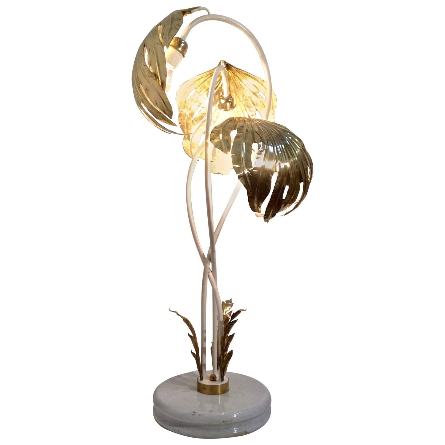 Tommaso Barbi Style Brass Palm Leaves Lamp On Marble Base, Italy at ...