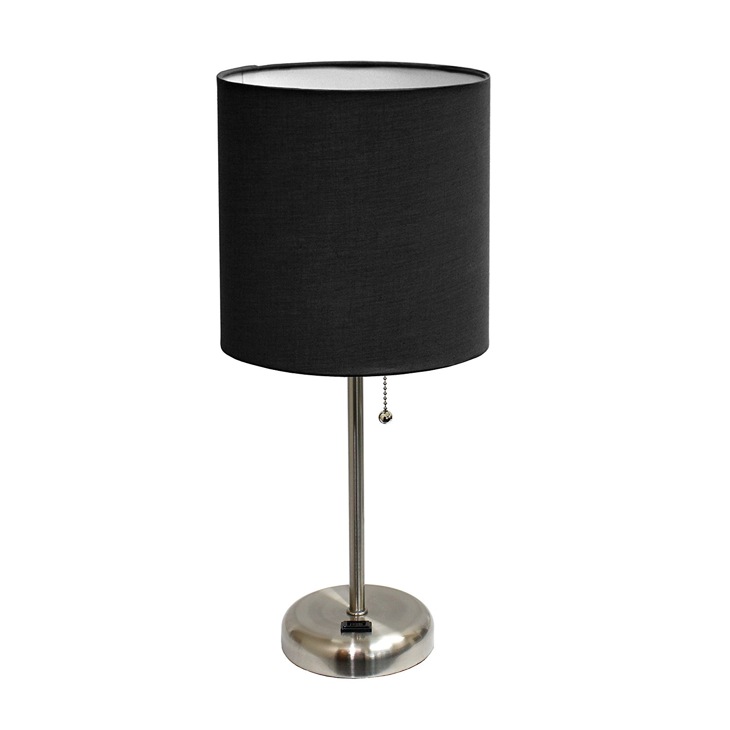 Limelights LT2024-BLK Brushed Steel Lamp with Charging Outlet and ...