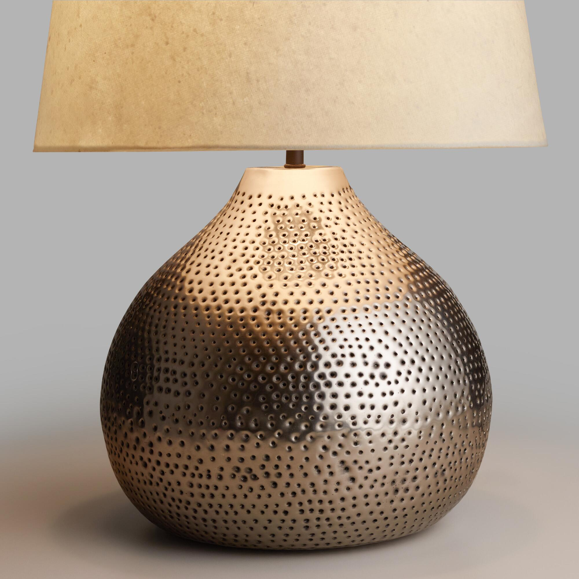 Pewter Prema Punched Metal Table Lamp Base | World Market