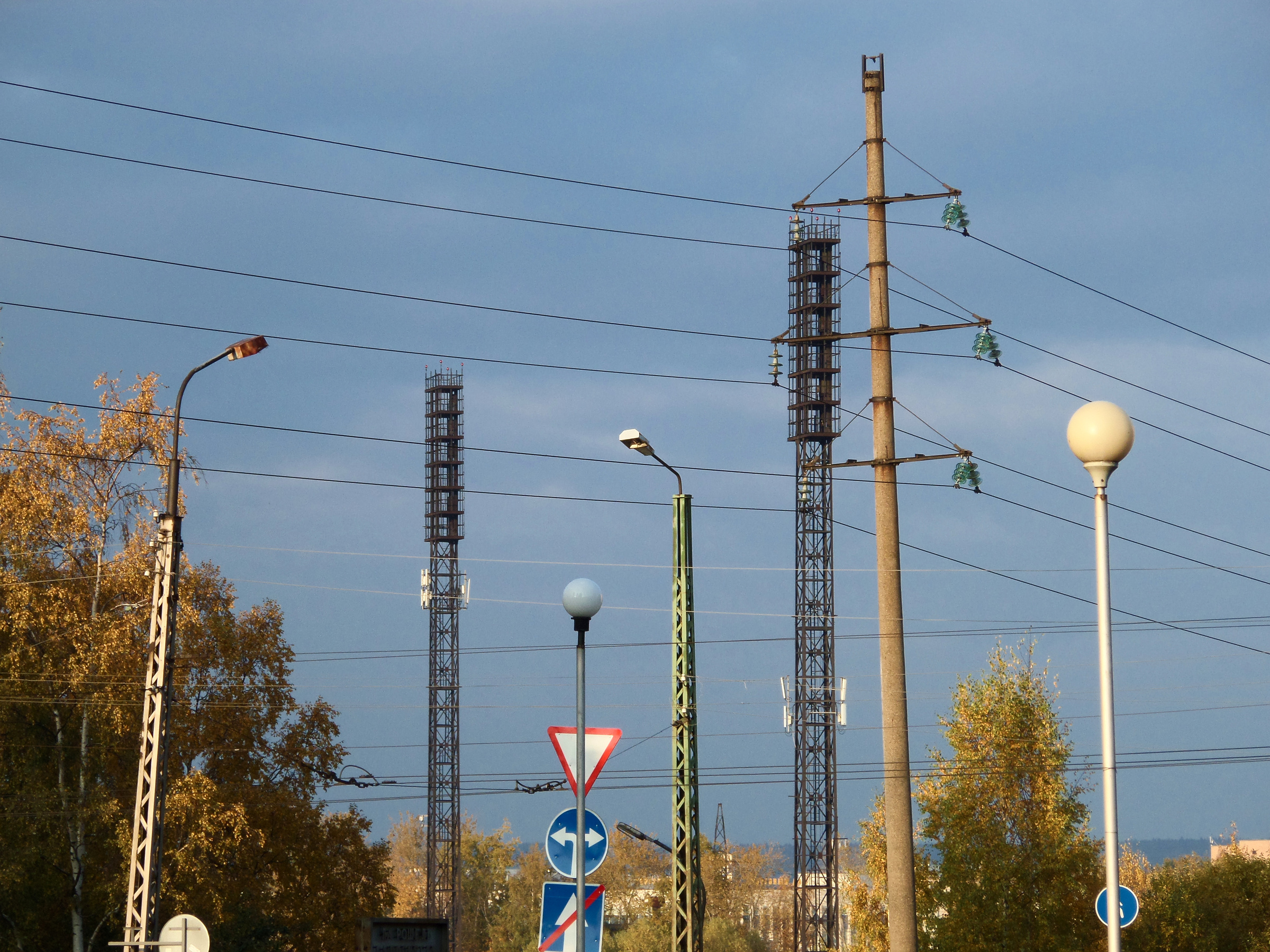 Lamps, poles and wires, Blue, Poles, Urban, Trees, HQ Photo
