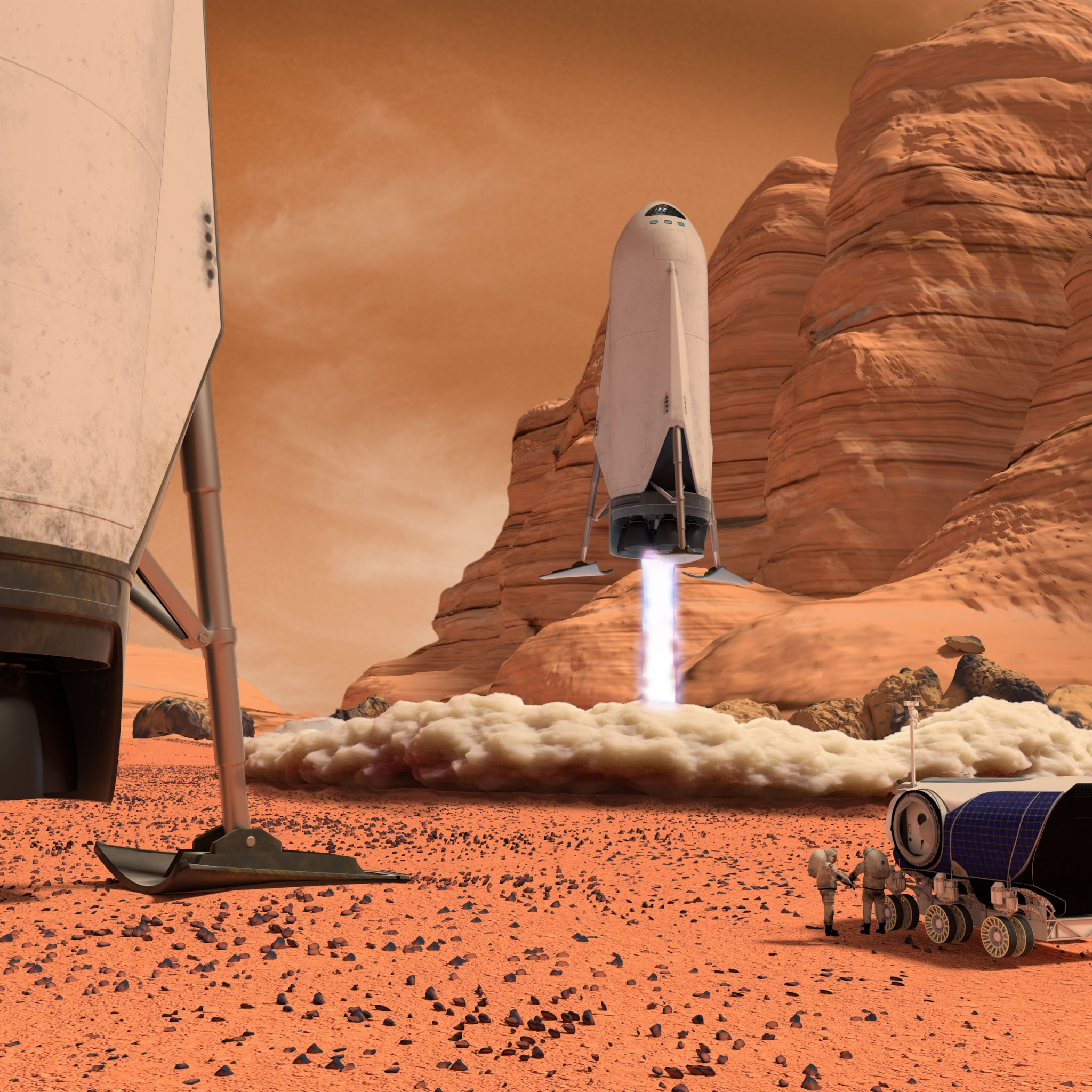 human Mars: SpaceX downscaled ITS spaceship landing on Mars