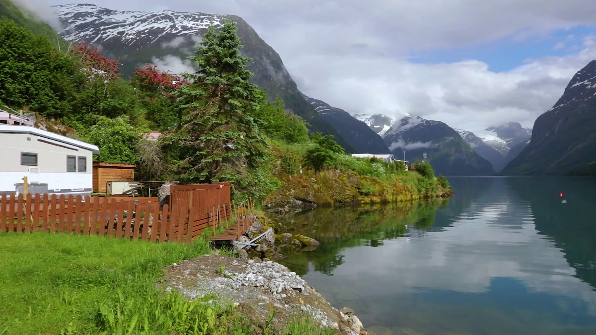 Beautiful Nature Norway natural landscape lovatnet lake. Stock Video ...