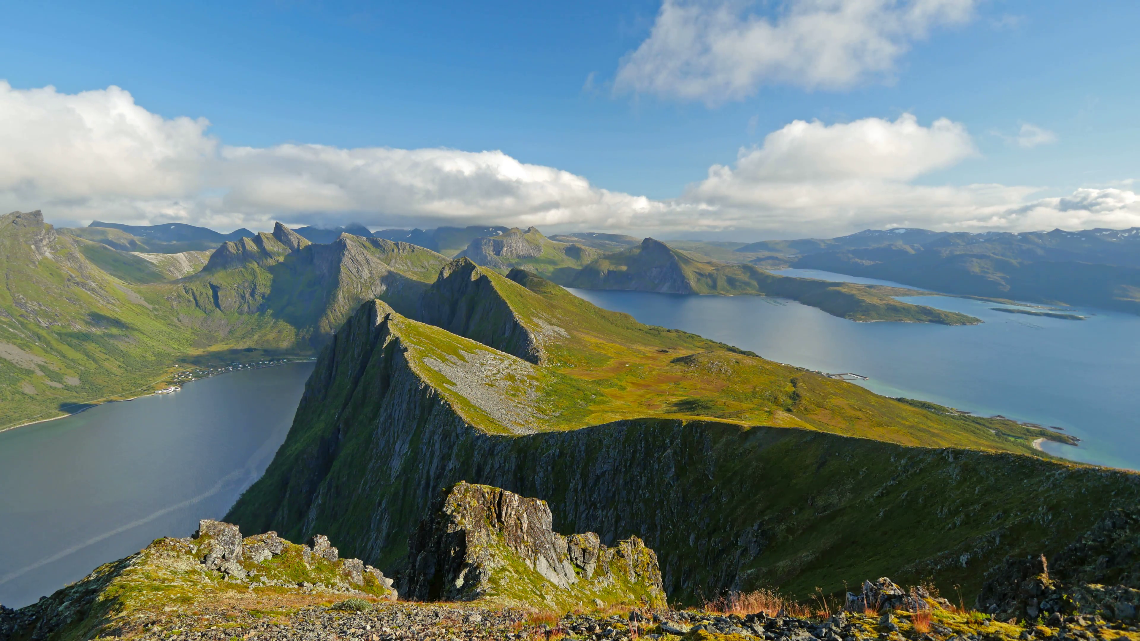 Senja island, Norway. Landscape with mountains, fjord and clouds ...