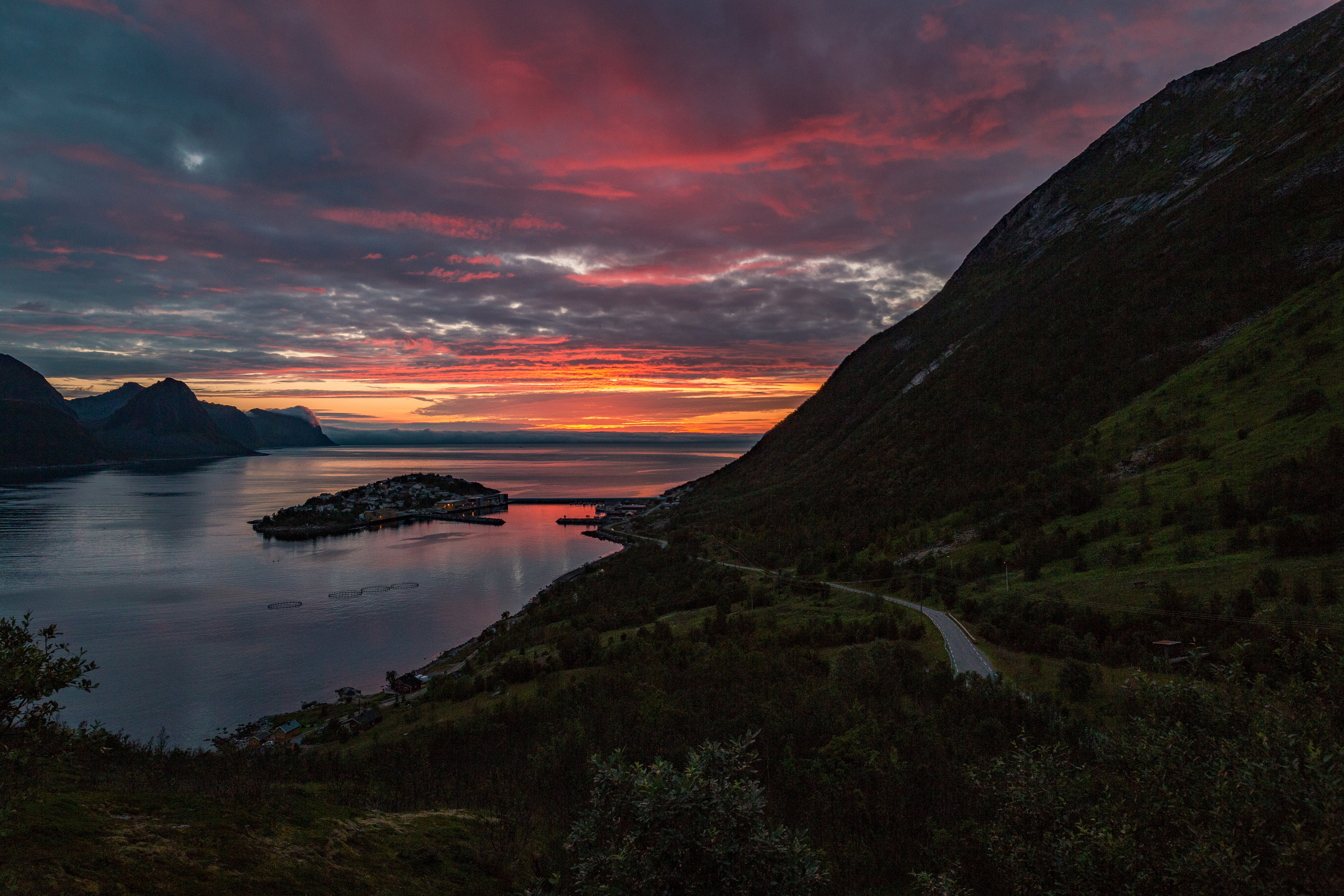 Dusk with clouds and fjord landscape in Norway image - Free stock ...