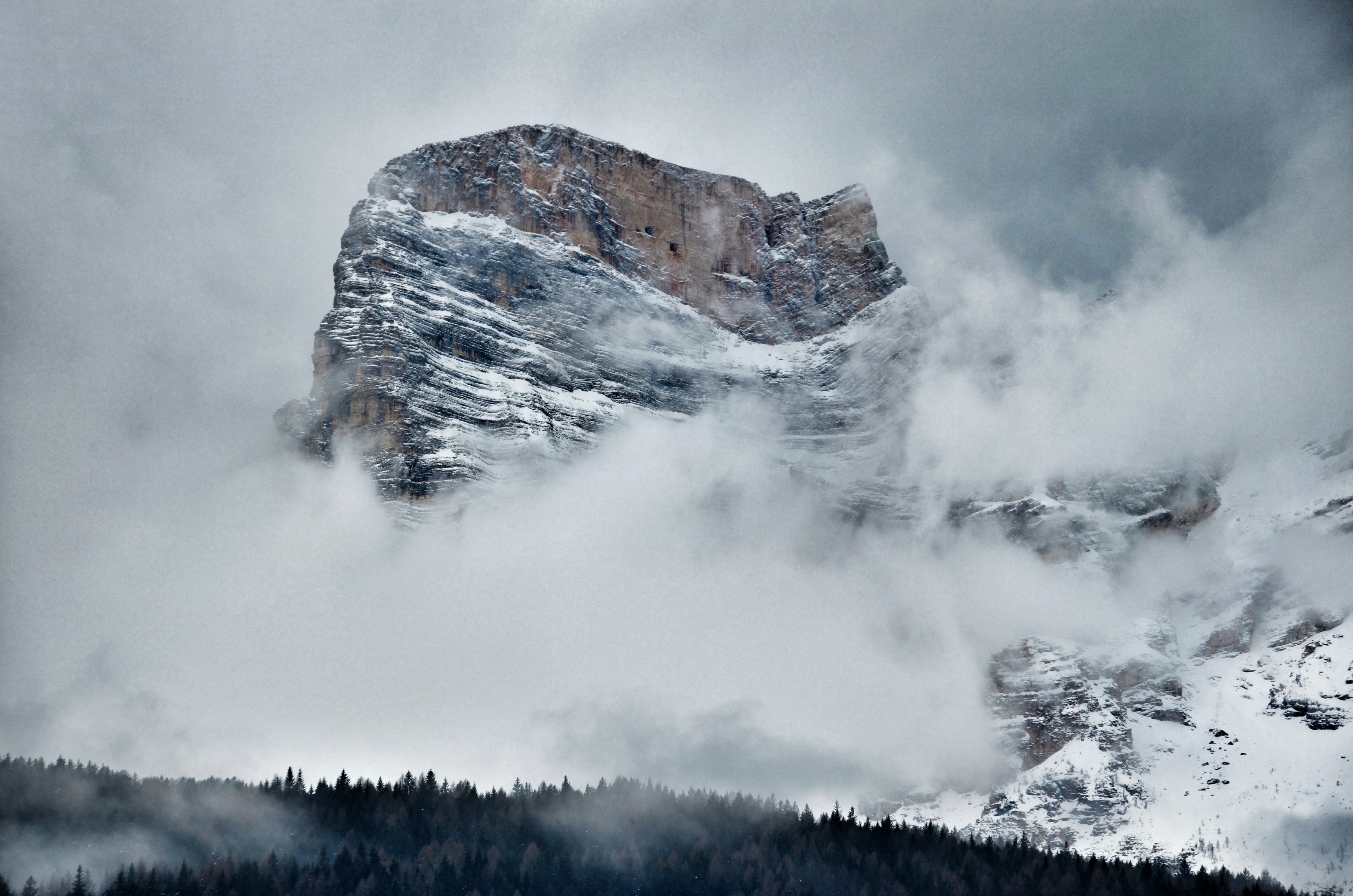 Landscape Photo of a Mountain, Clouds, Mountain peak, Trees, Snow, HQ Photo