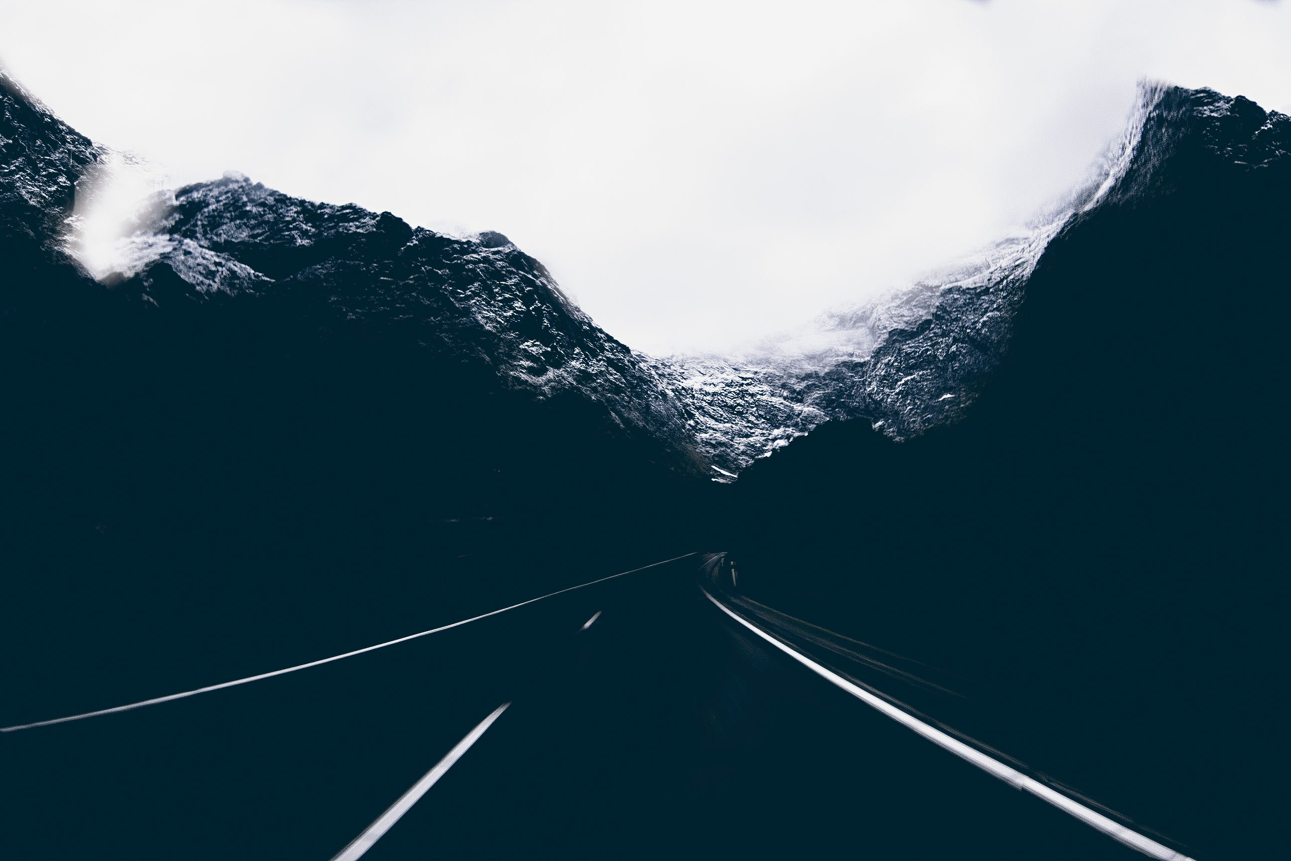 Landscape Photo of Road in the Middle of Mountains, Background, Mountains, Snow, Sky, HQ Photo