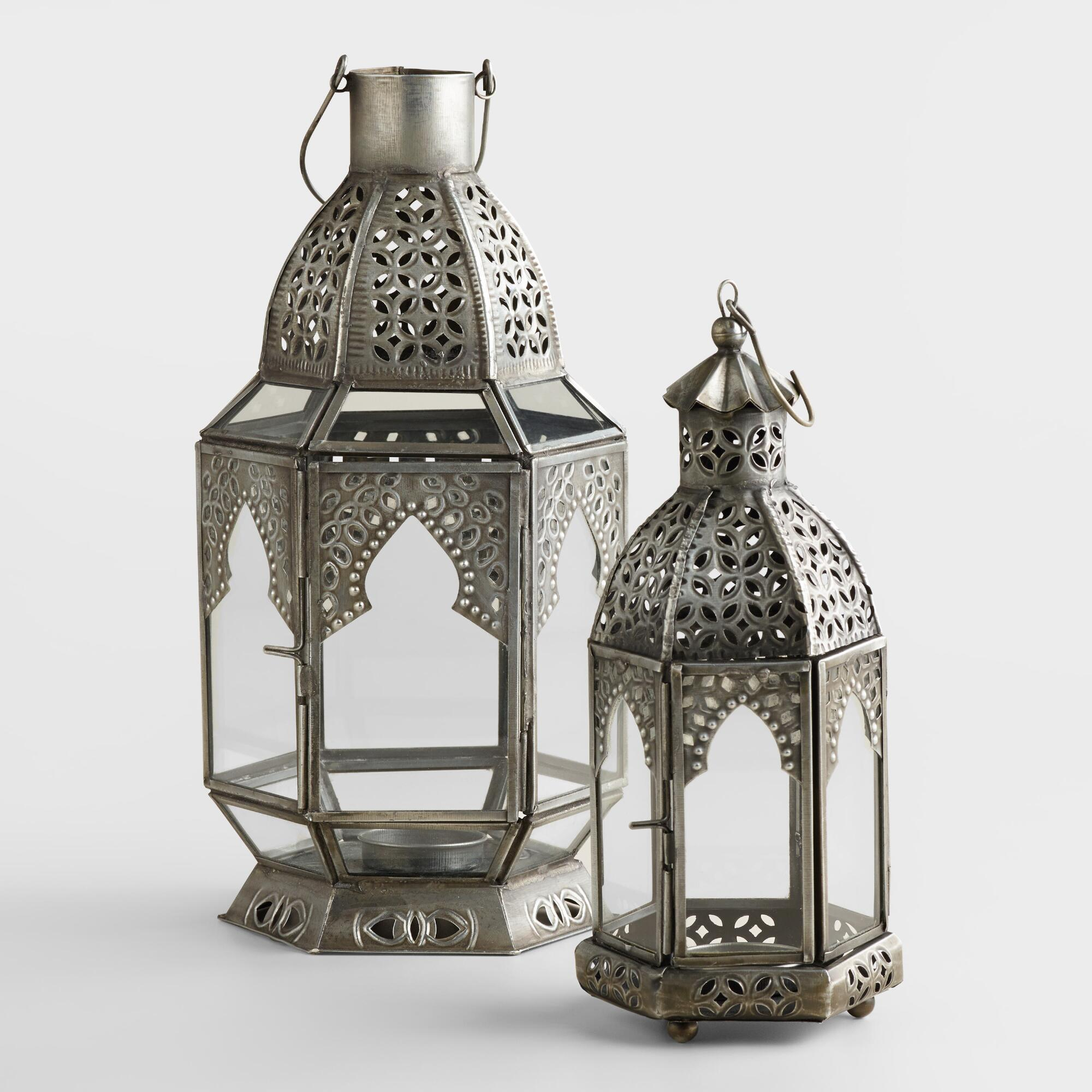 Antiqued Zinc Latika Tabletop Lantern | World Market