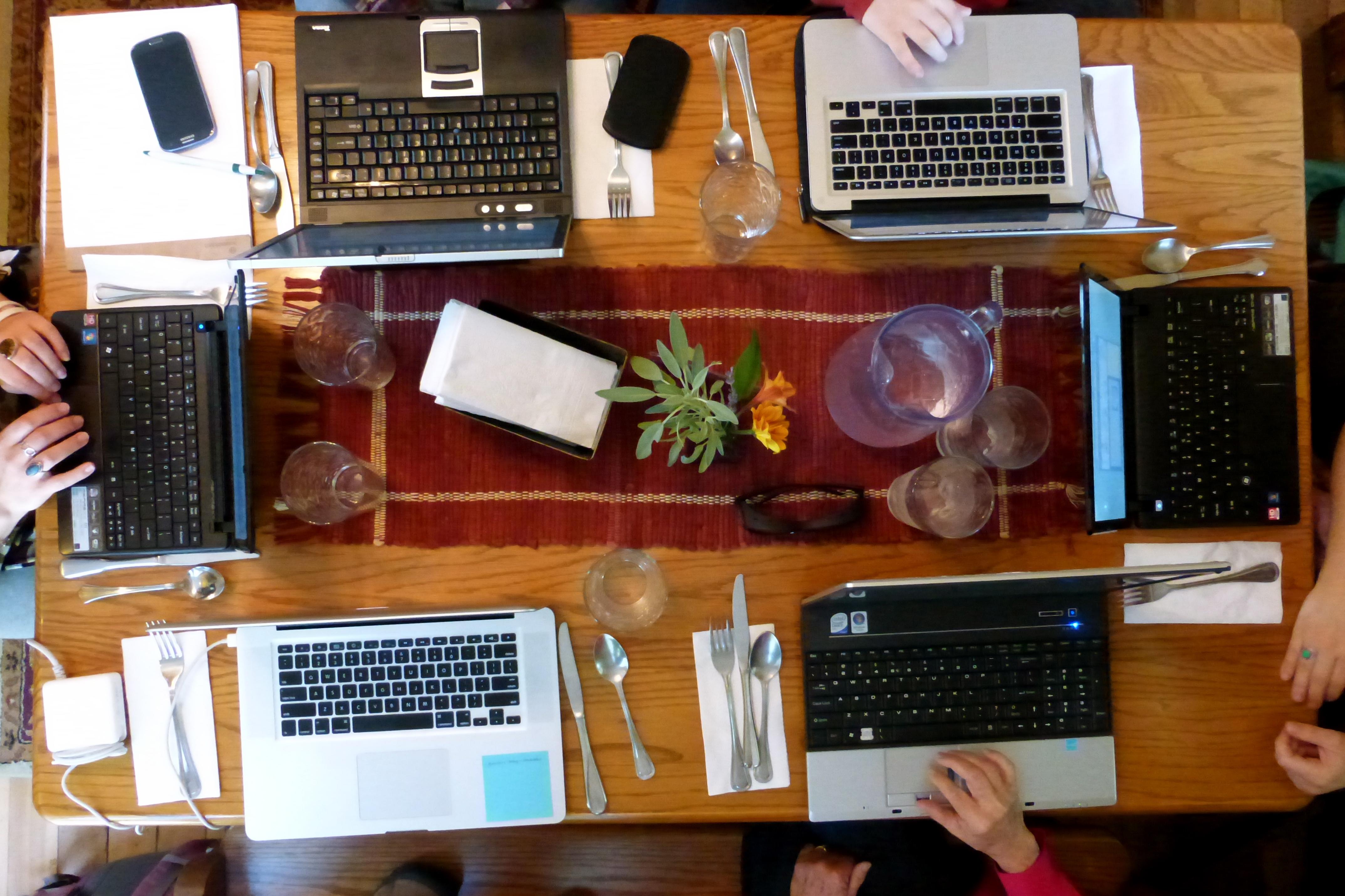 Laptop at meeting photo