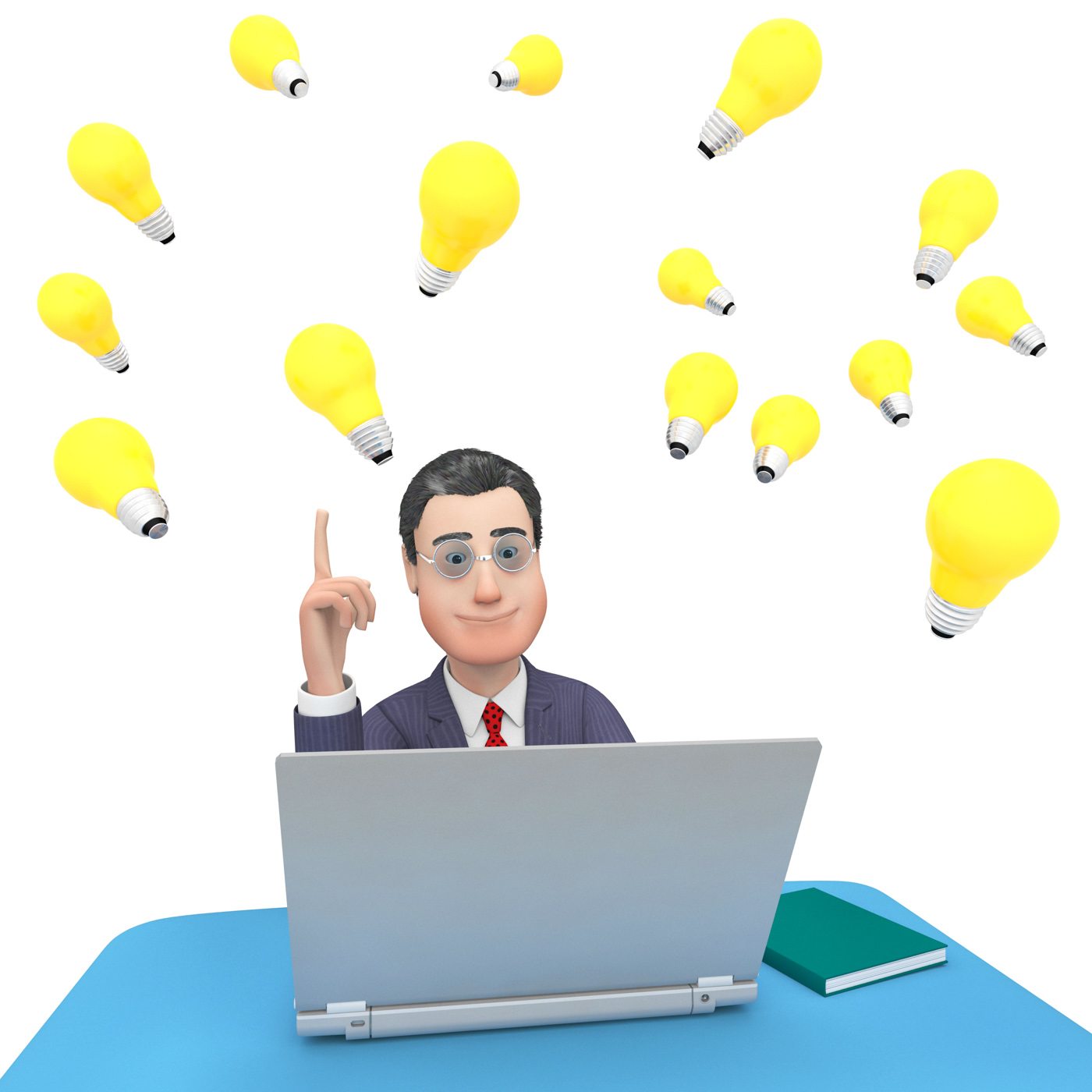 Laptop character shows world wide web and businessman 3d rendering photo