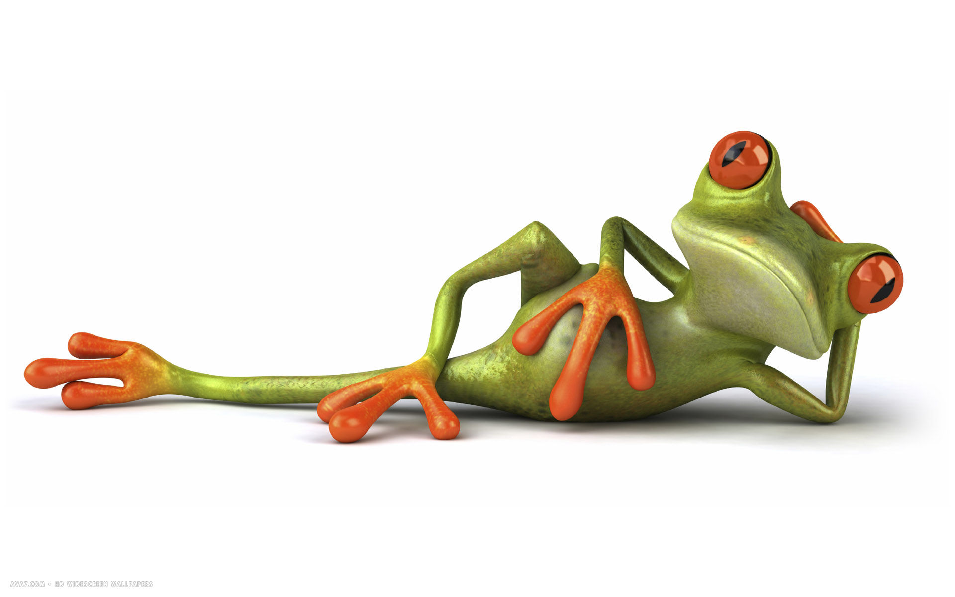 3d lazy funny frog cgi green hd widescreen wallpaper / 3d backgrounds