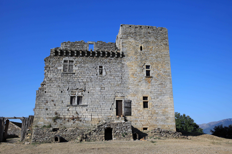 Le Château d'Aujac, Ruins, Outdoor, Sky, South France, HQ Photo