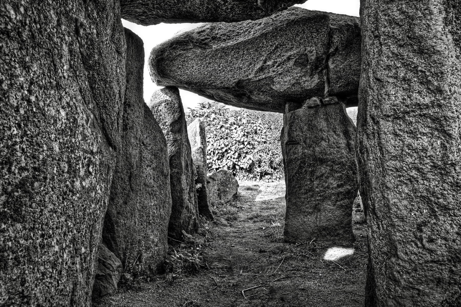 Le trepied dolmen - bw hdr photo