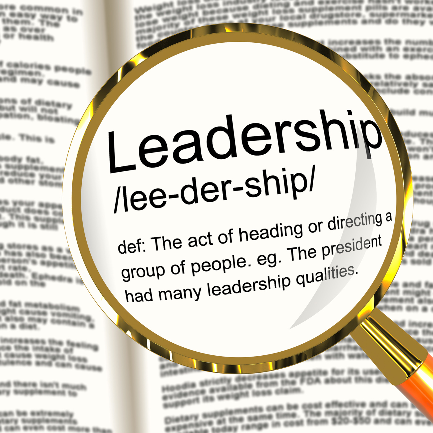 Leadership definition magnifier showing active management and achievem photo