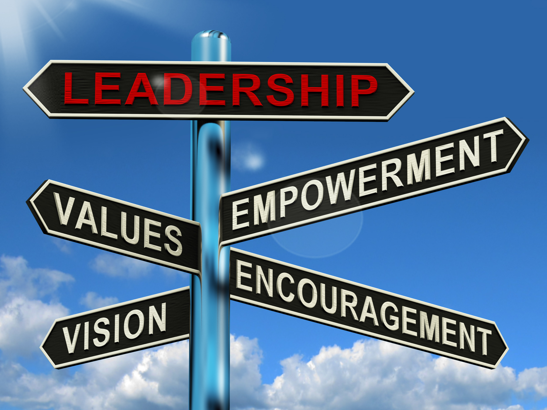 Leadership signpost showing vision values empowerment and encouragemen photo