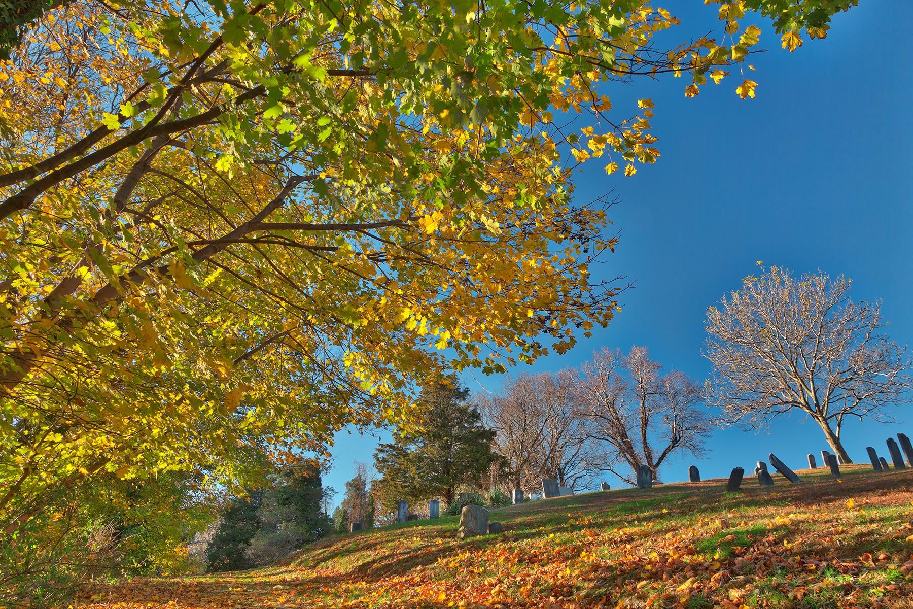 Leaning Fall Cemetery - HDR, America, Pretty, Spiritual, Slanting, HQ Photo