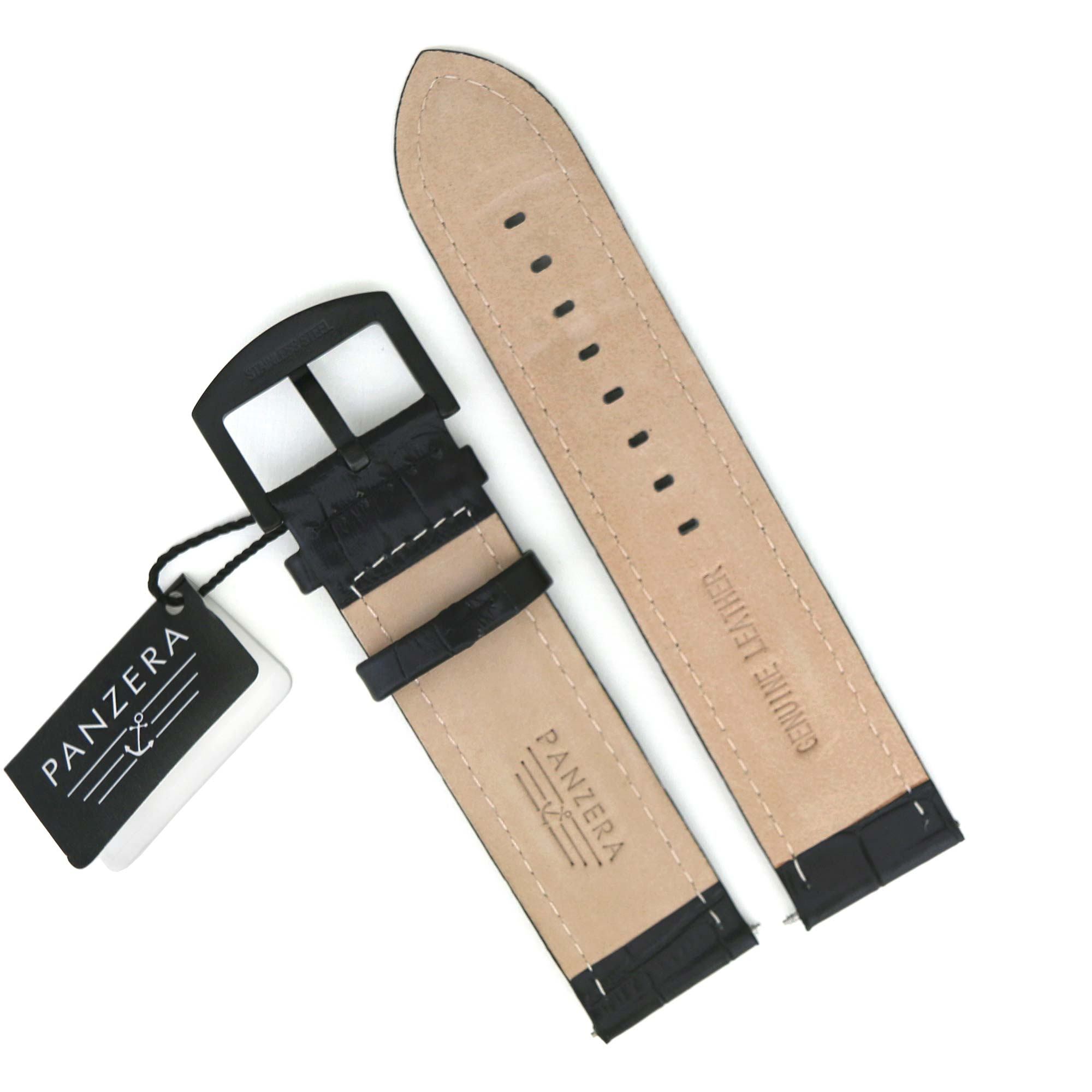 Panzera Black Leather Strap – 24mm
