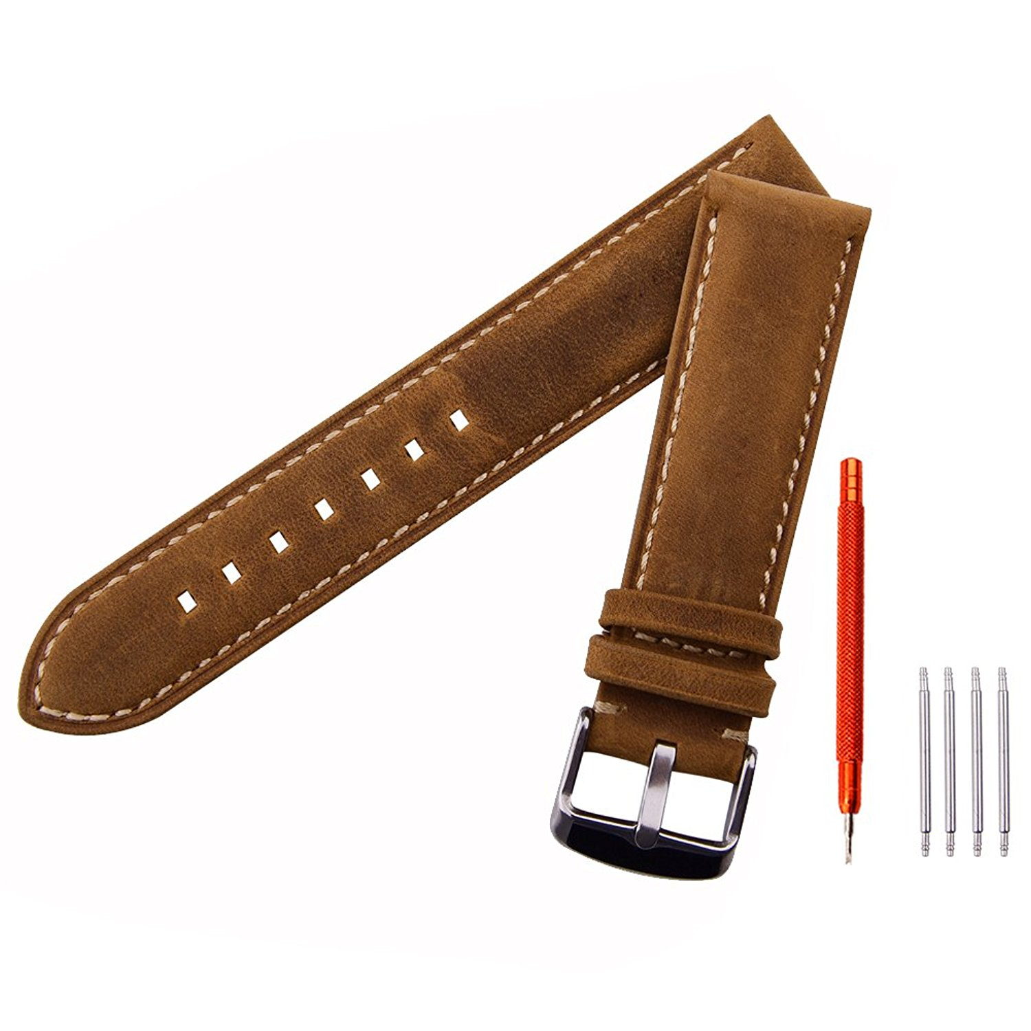 Ritche Leather strap Replacement Watch Bands Straps 20mm-Brown ...