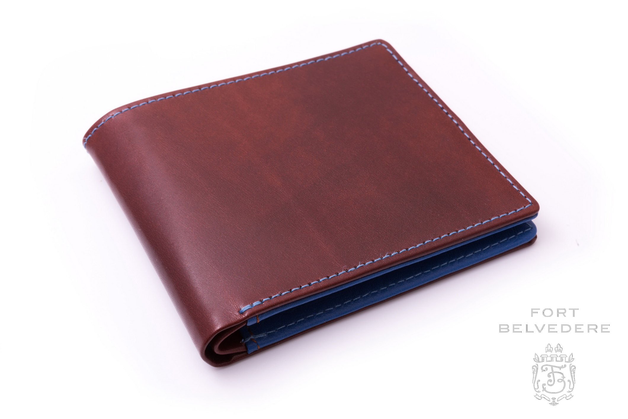 Luxury Men's Leather Wallet in Whisky Patina Brown Boxcalf & Blue ...