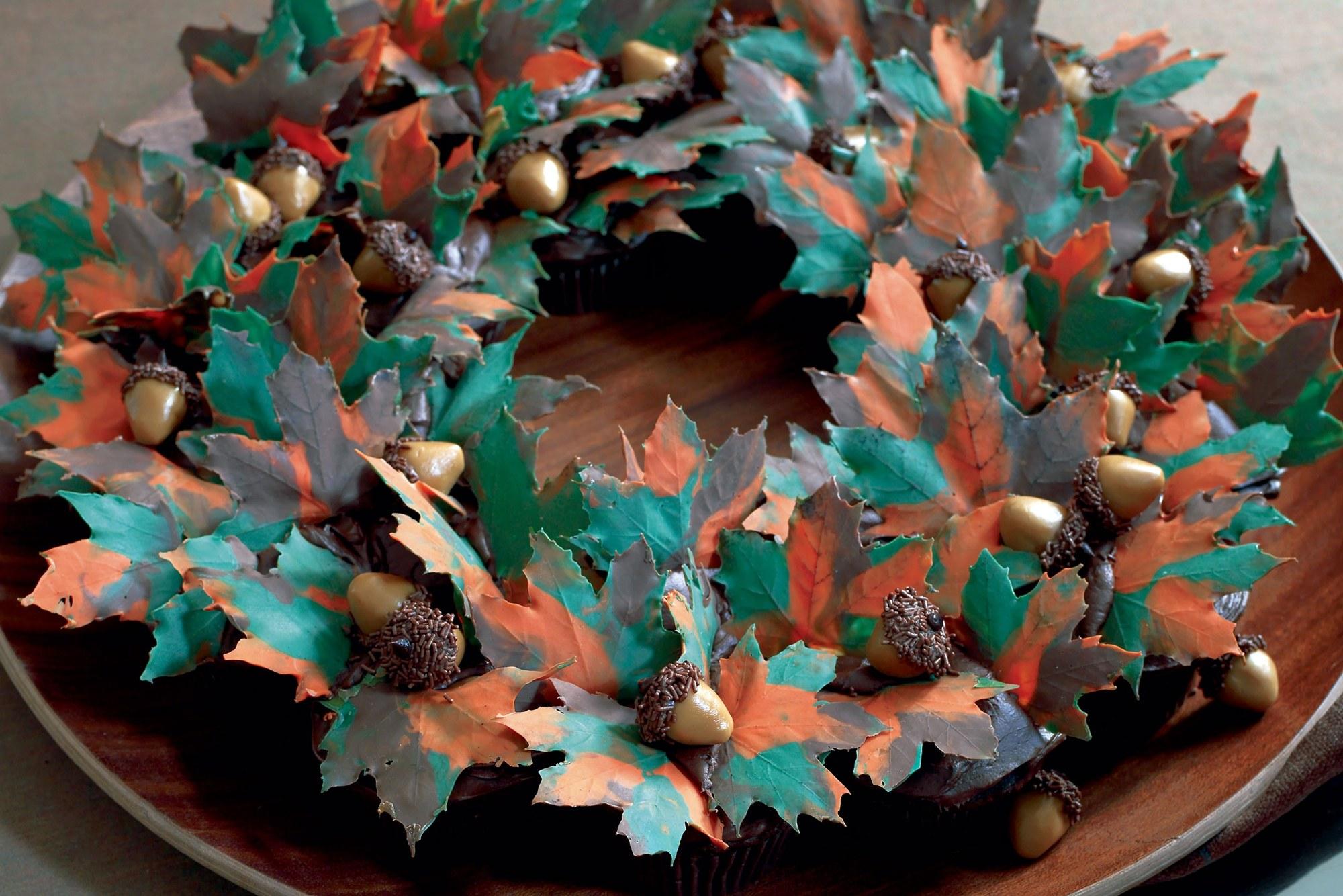 Autumn Leaves Cupcake Wreath recipe | Epicurious.com