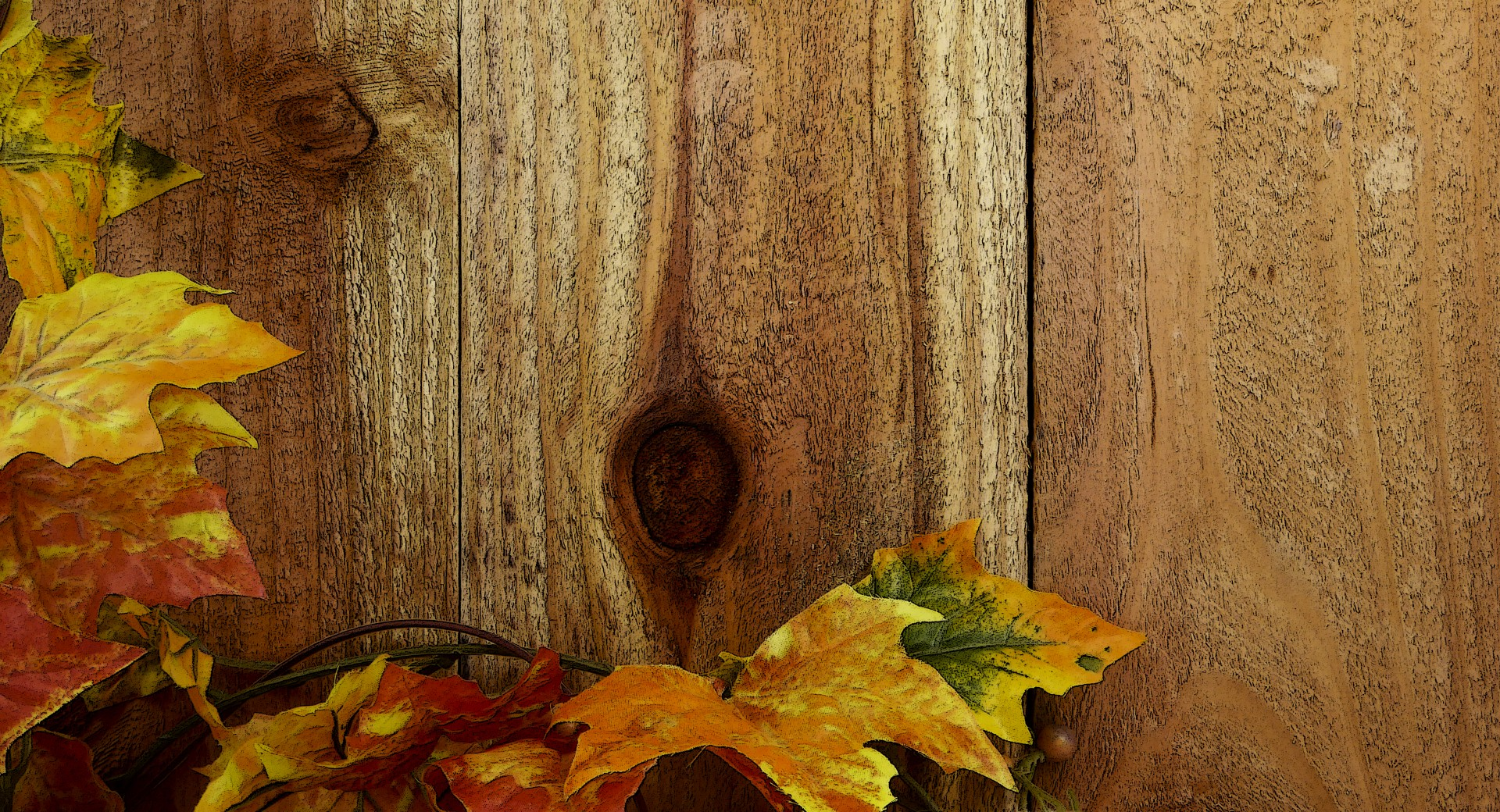 Wood Fence & Fall Leaves Background Free Stock Photo - Public Domain ...