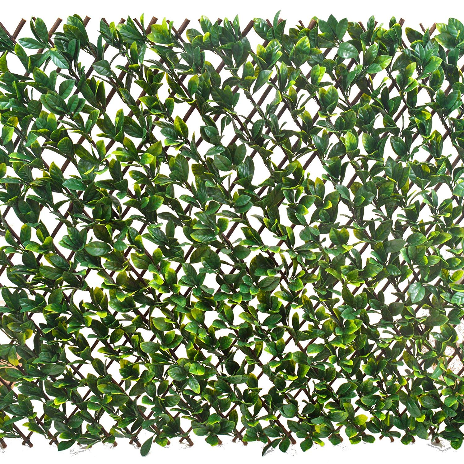 Expanding Fence with Artificial Green Laurel Leaves: Leaf Trellis To ...
